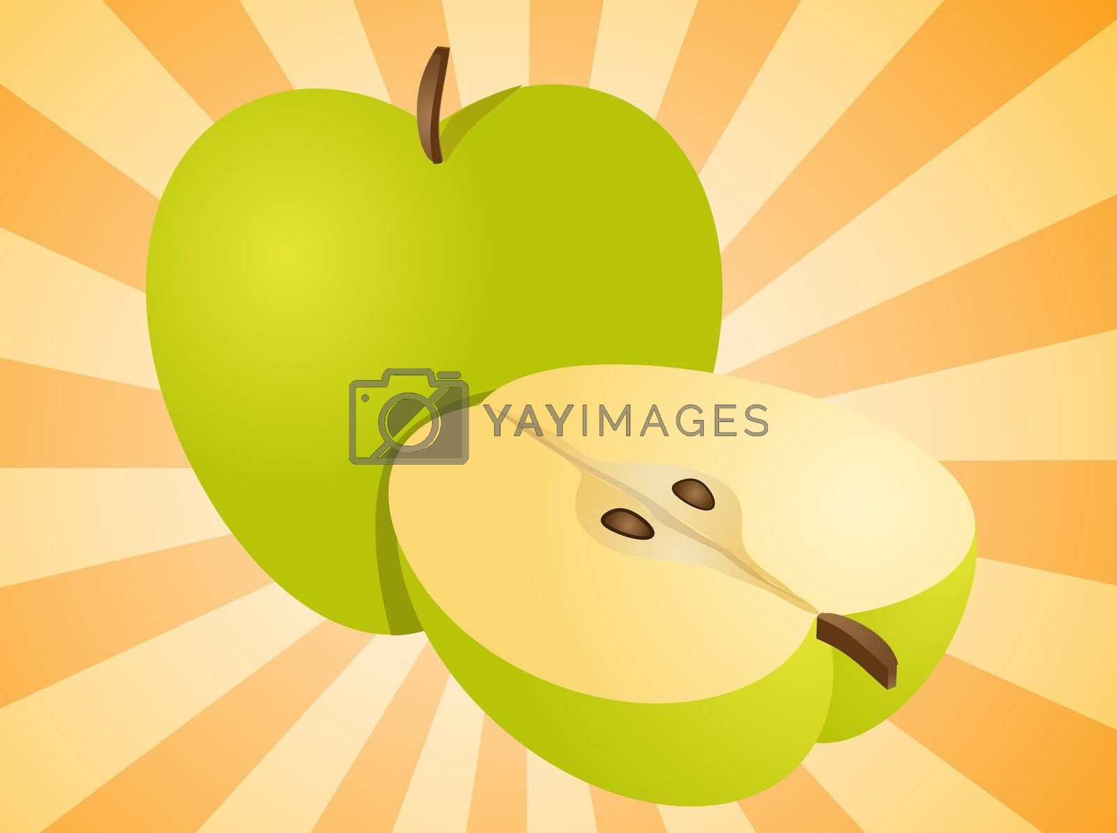 Royalty free image of Apple whole and half illustration by kgtoh
