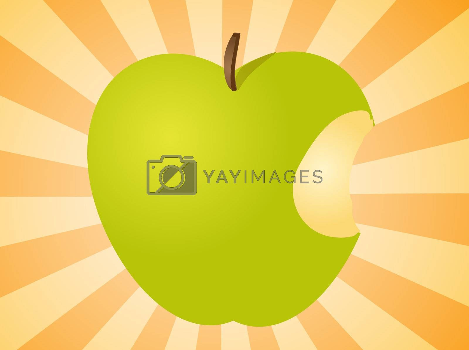 Royalty free image of Apple with bite  illustration by kgtoh