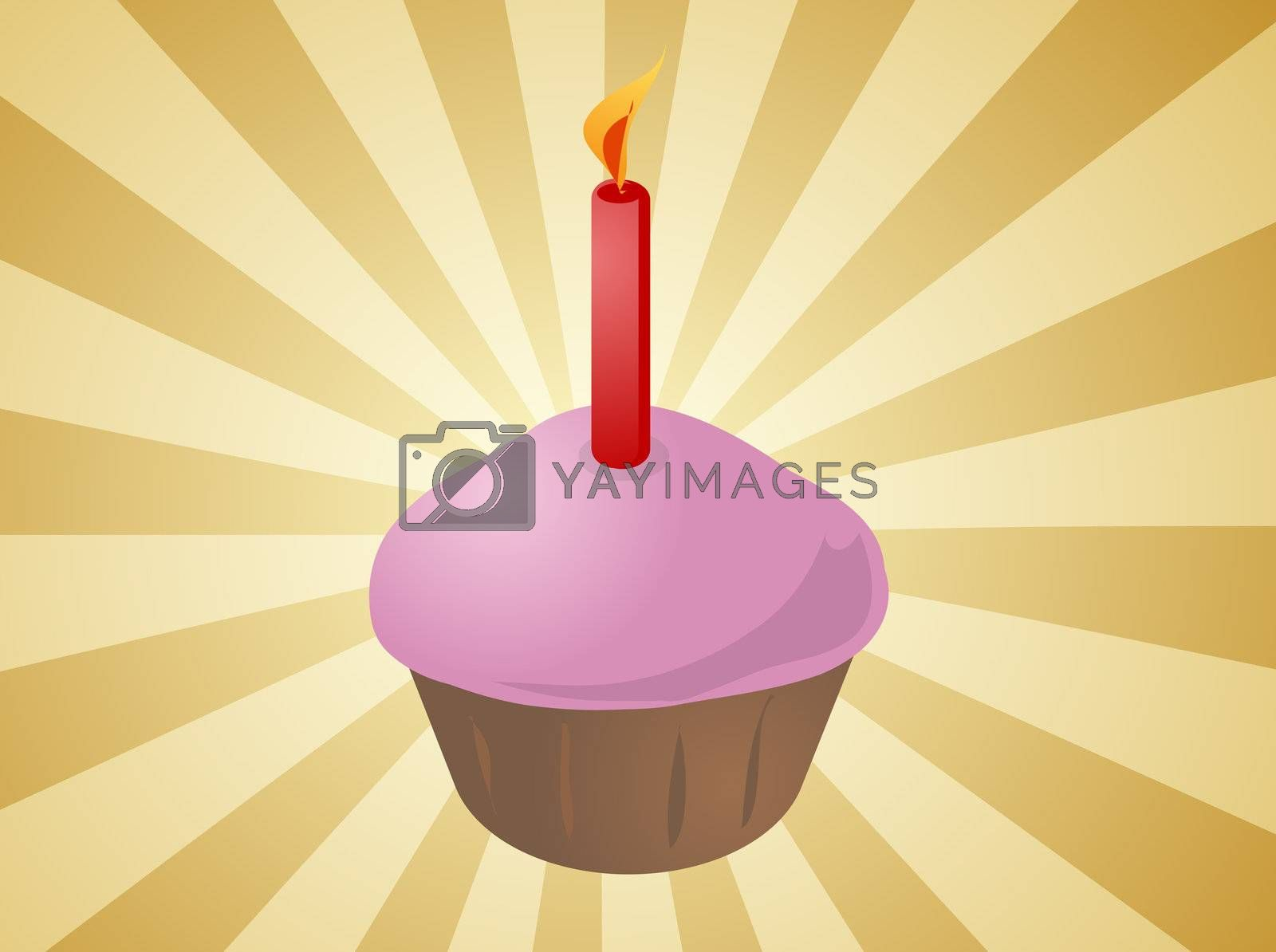 Royalty free image of Birthday cupcake with candle by kgtoh