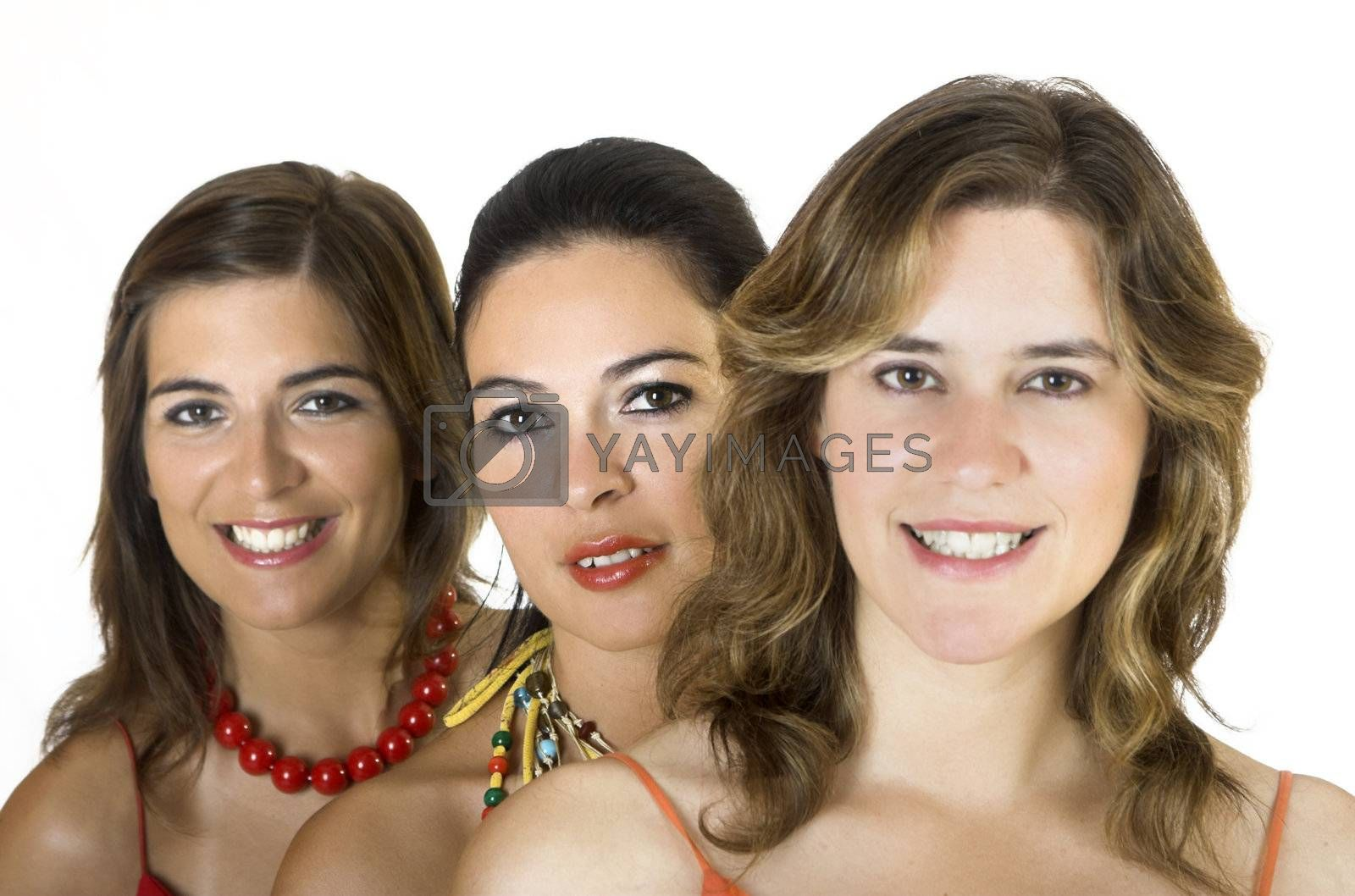 Portrait of three young girls isolated on white - Focus is on the midle girl