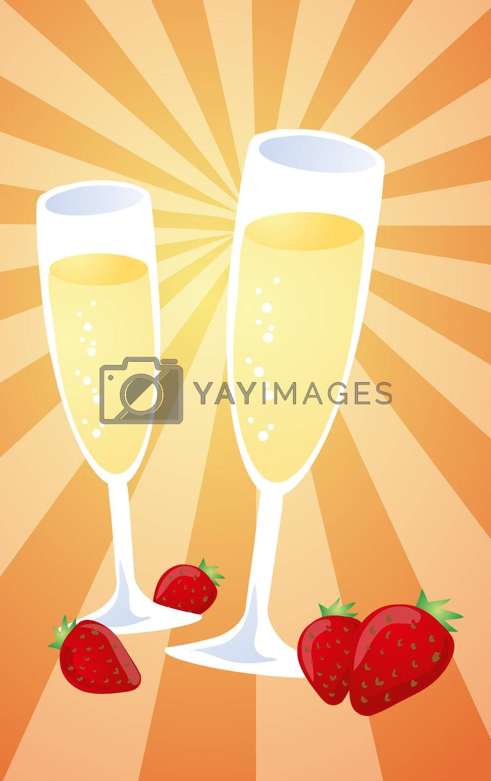 Royalty free image of Champagne and strawberries illustration by kgtoh