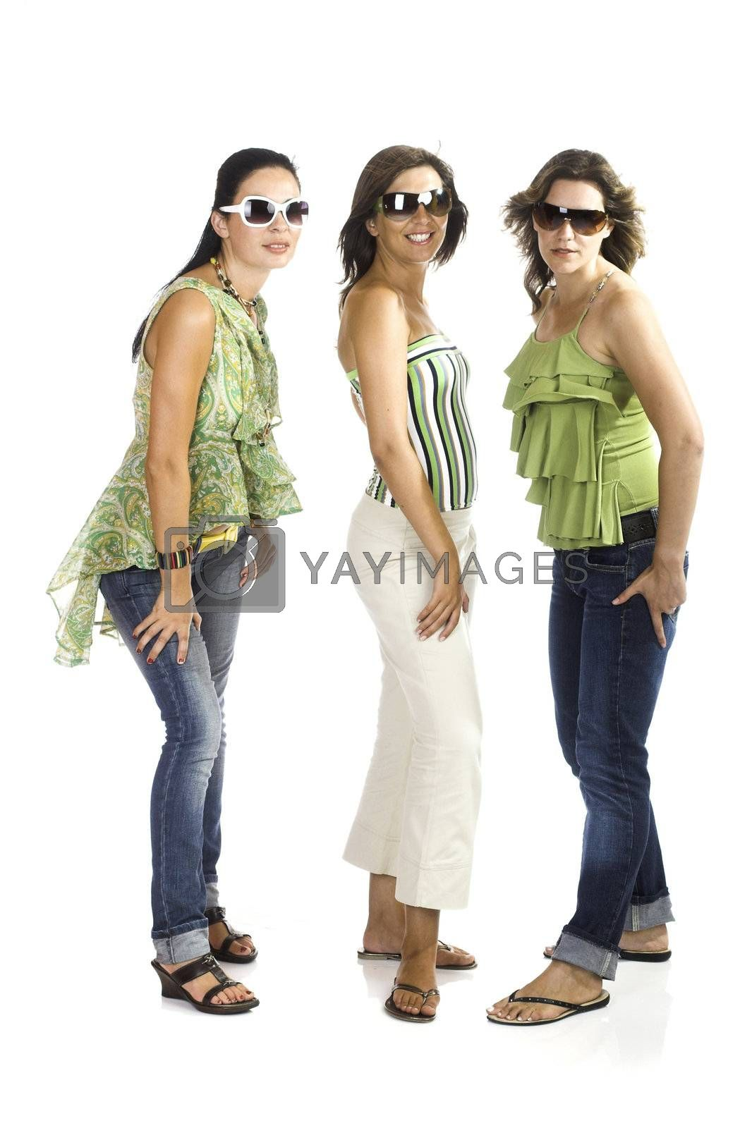 Portrait of three young girls isolated on white