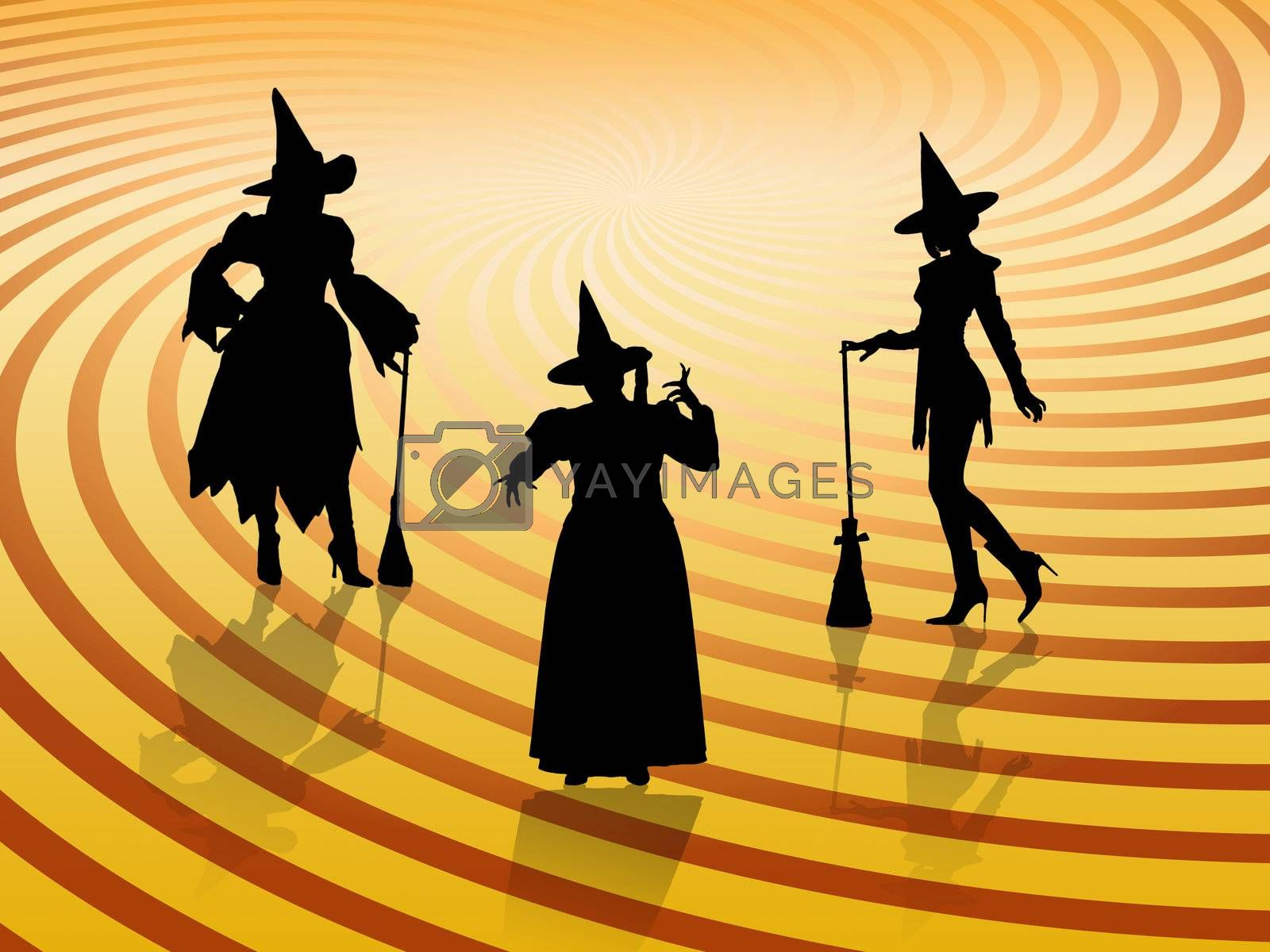 Three Halloween witches on retro background with reflections.