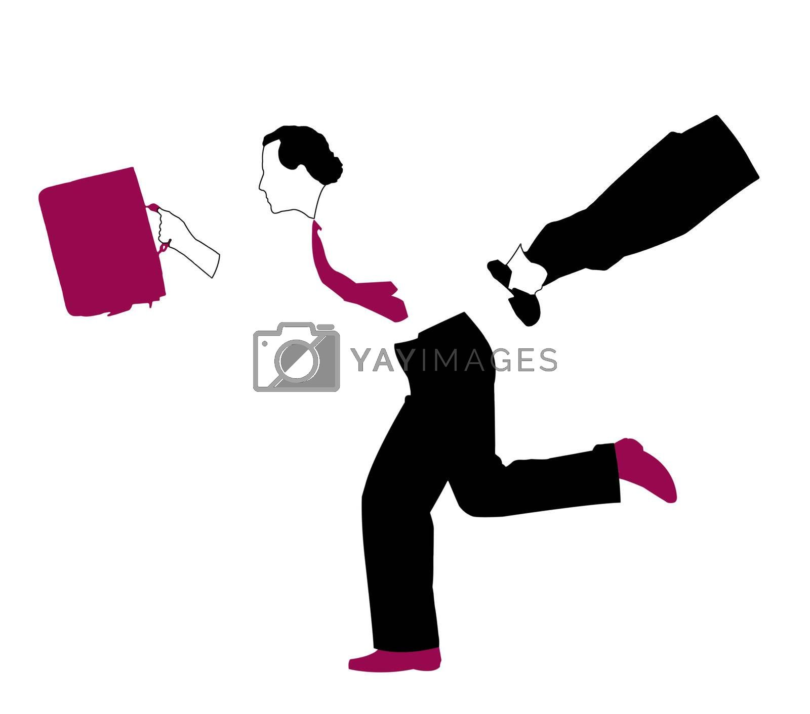Businessman with suit and tie and red suitcase running. Illustration