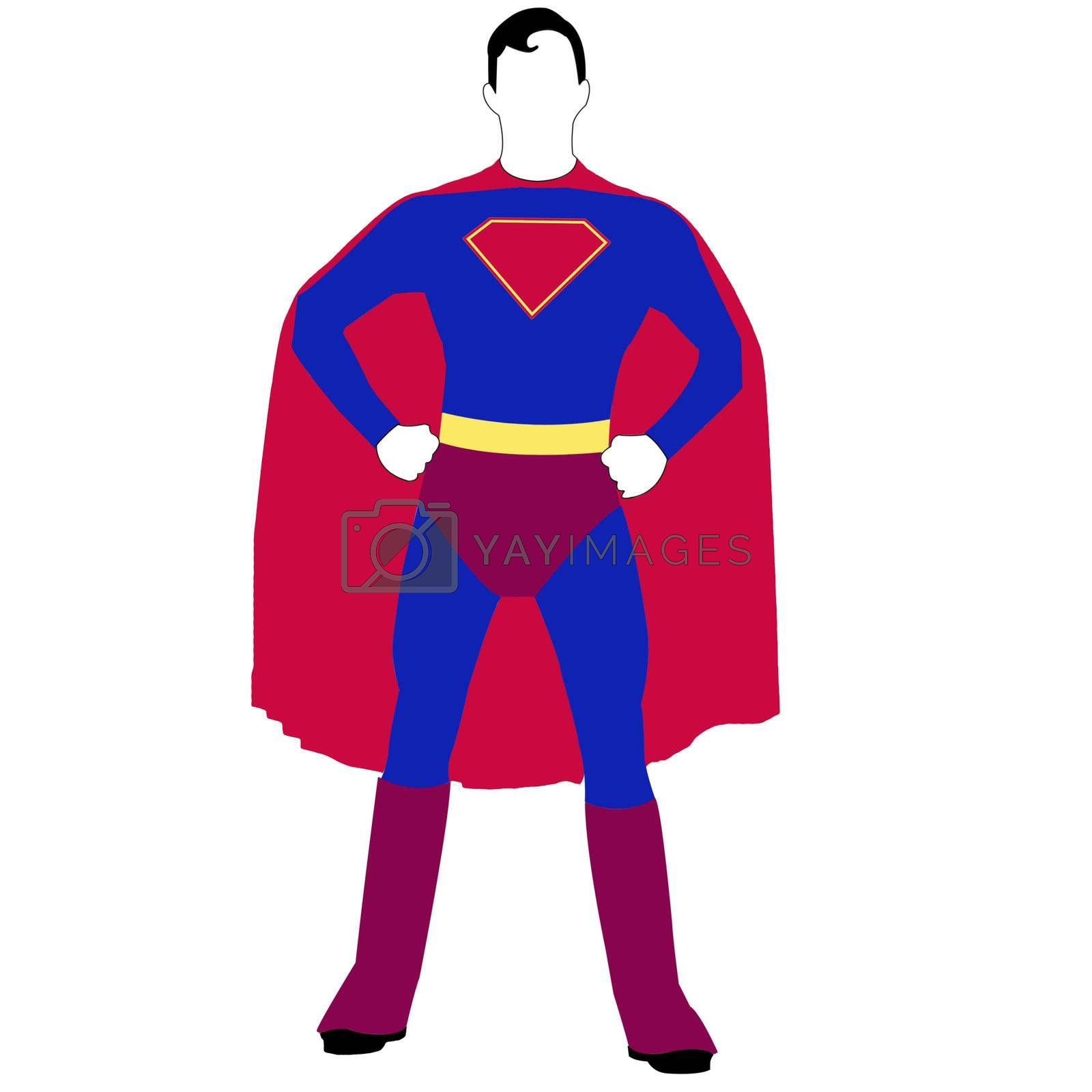 Superhero with red cape - illustration