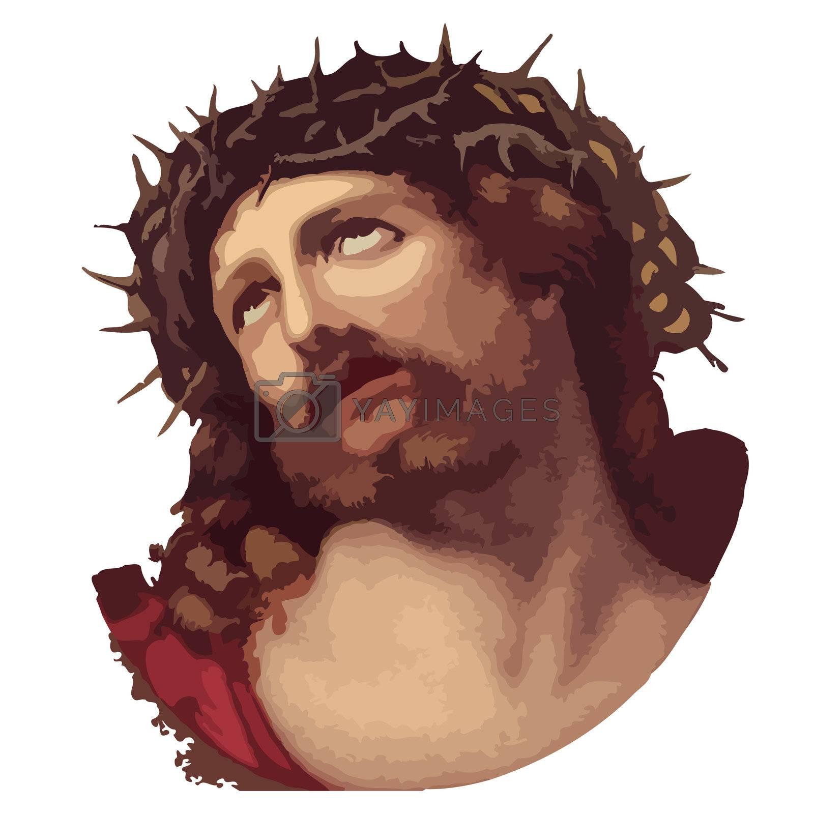 Illustration: vector of Jesus Christ against white background