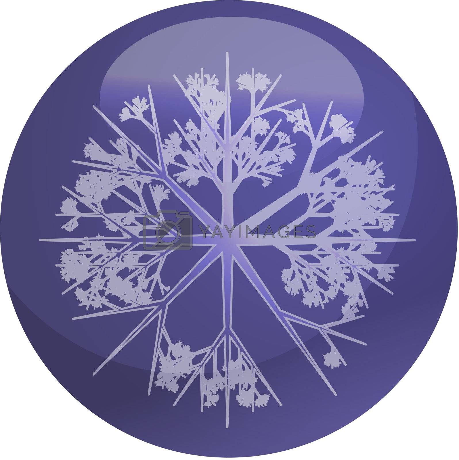 Christmas tree ornament snowflake design on glossy ball