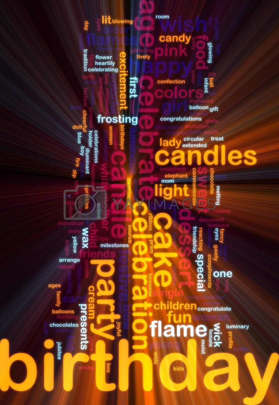 Word cloud concept illustration of birthday celebration glowing light effect