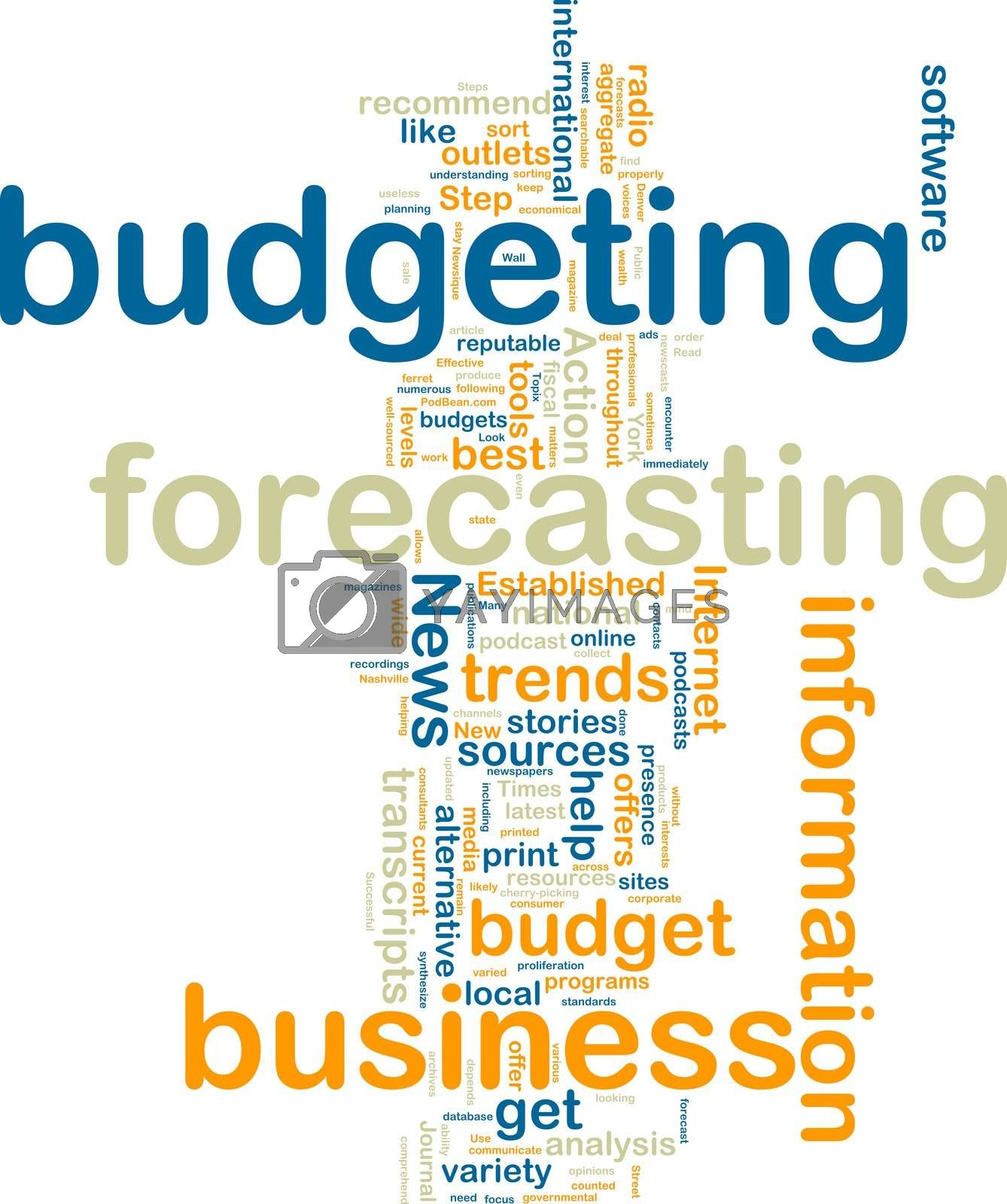 Word cloud tags concept illustration of financial budgeting
