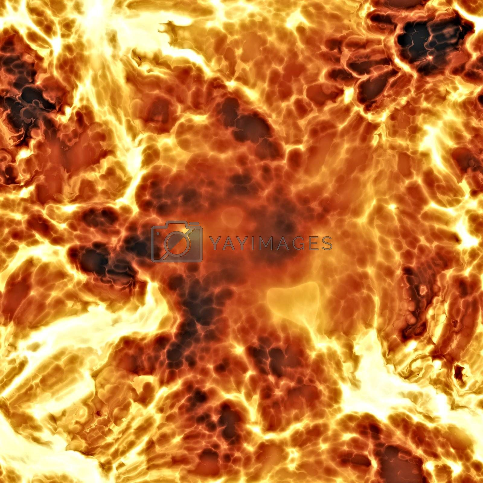 Rendererd illustration of fiery explosion and flames seamless background texture