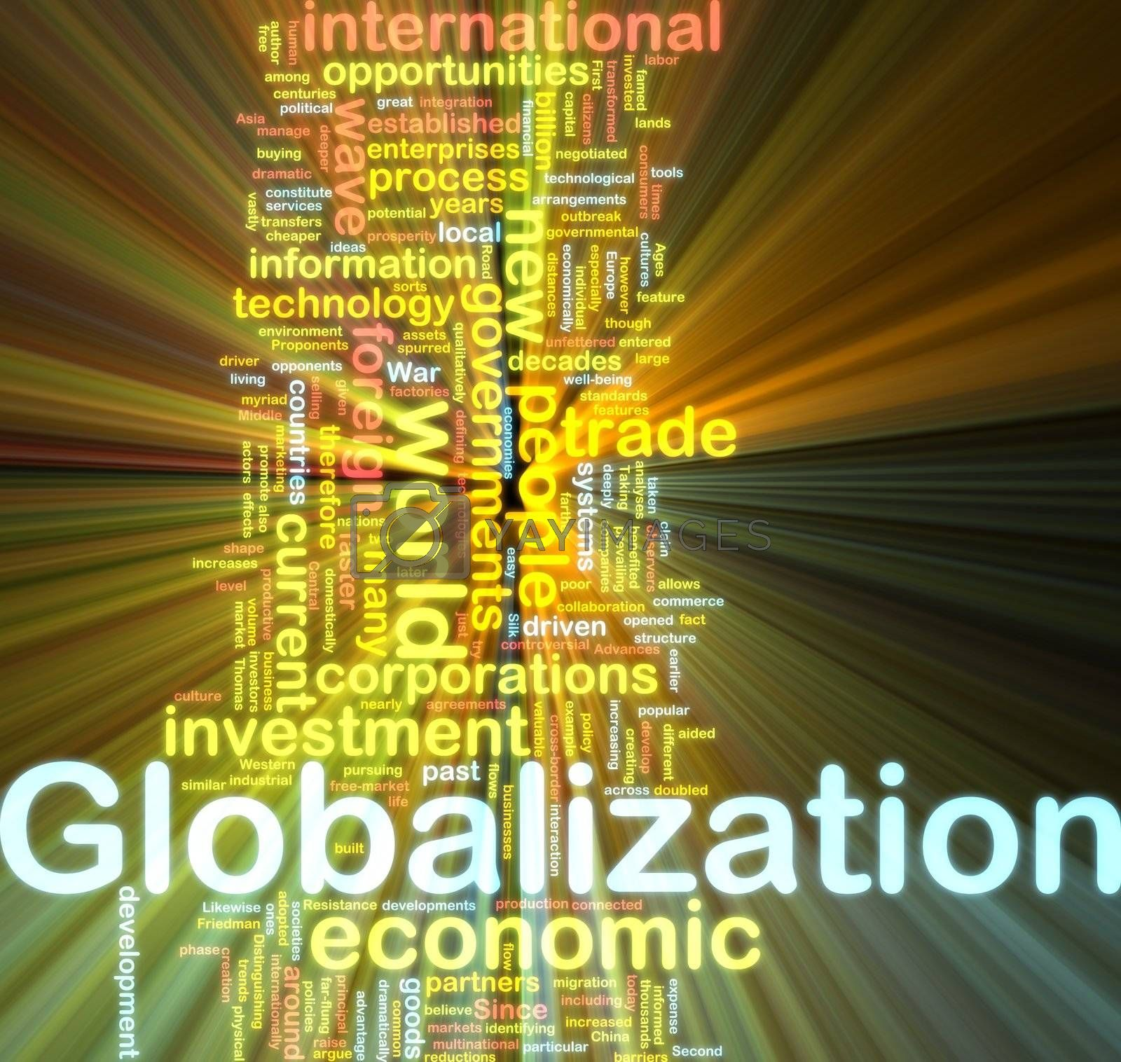 Word cloud tags concept illustration of globalization glowing light effect