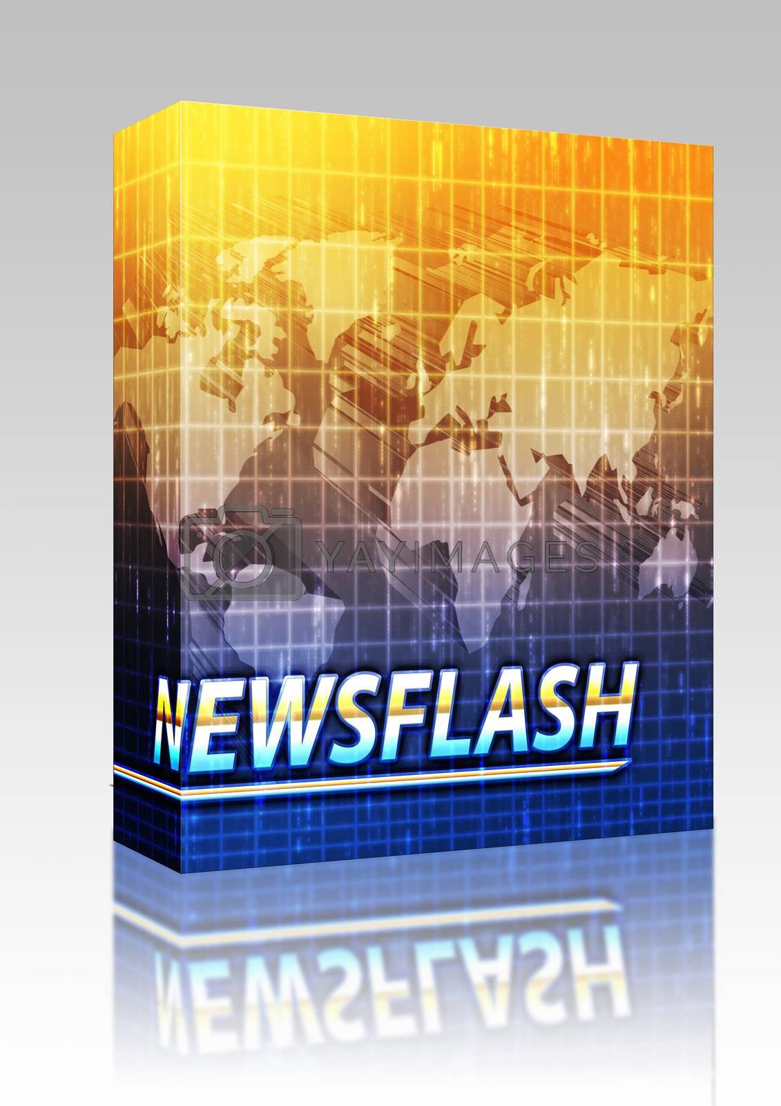 Software package box Latest breaking news newsflash splash screen announcement illustration