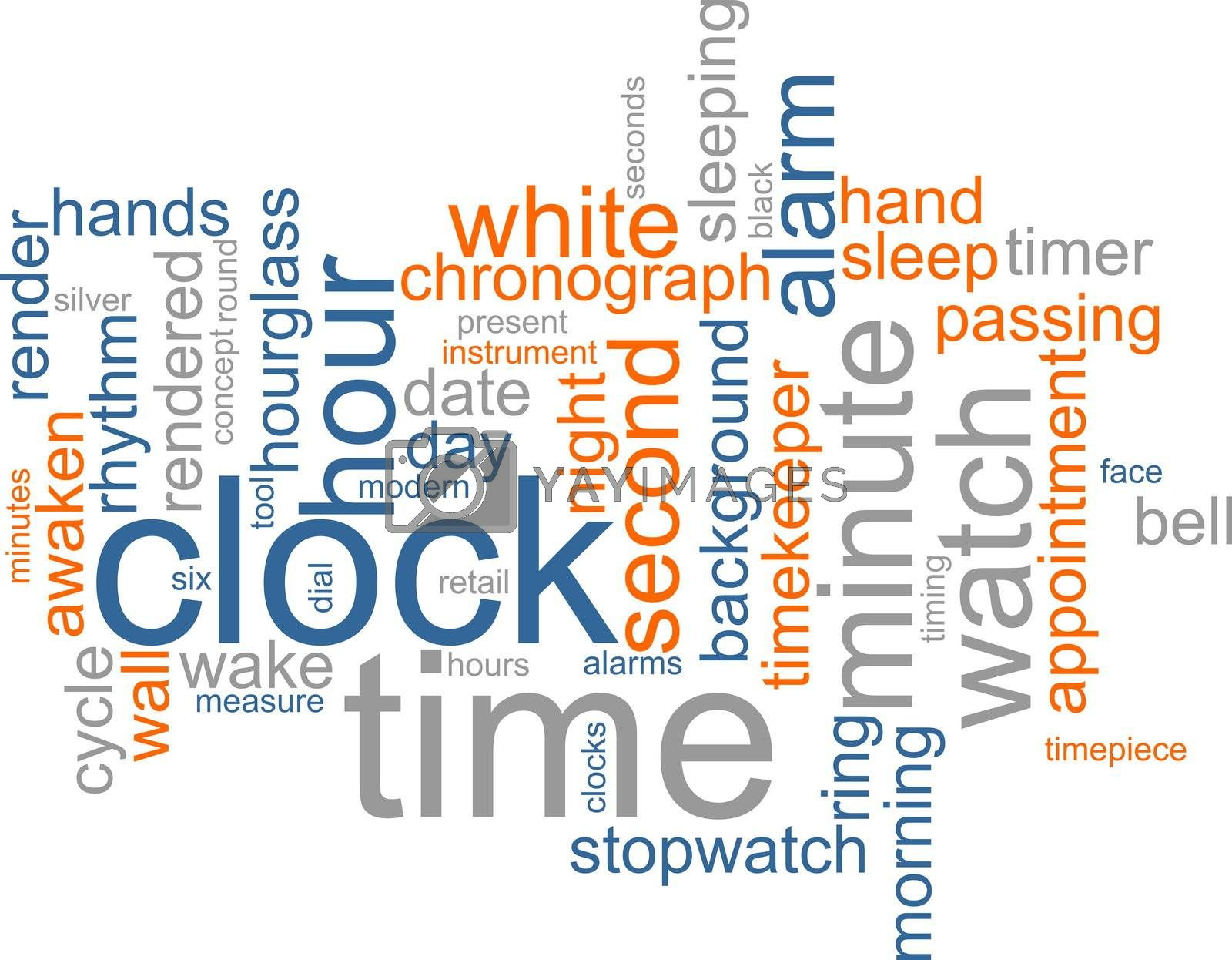 Word cloud concept illustration of clock time