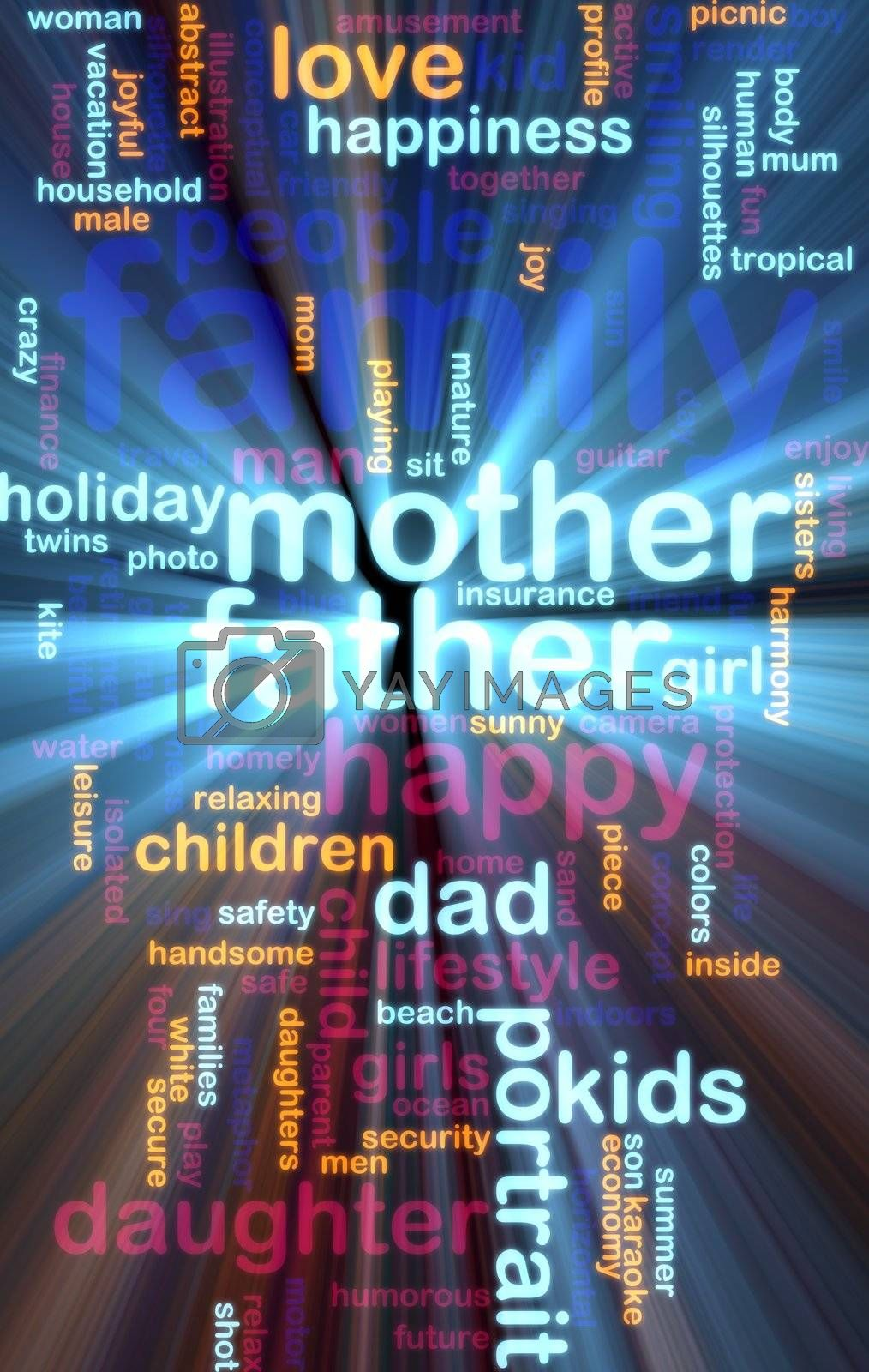 Word cloud concept illustration of happy family glowing light effect