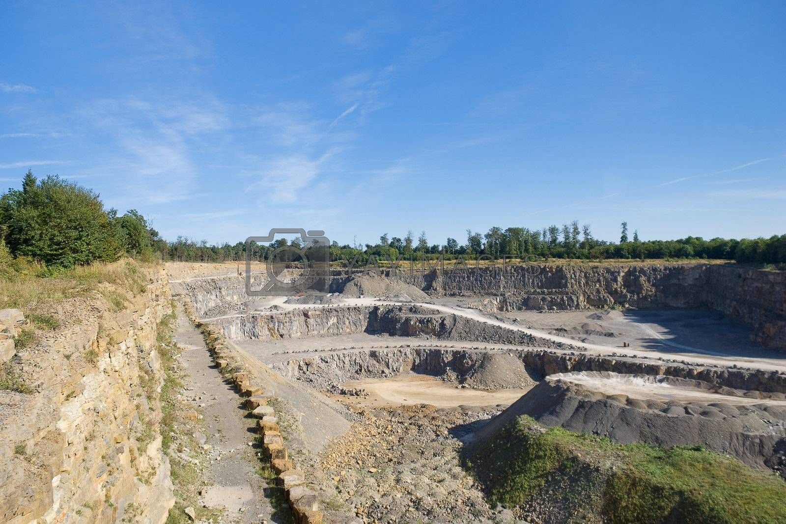 View into the mining of the quarry