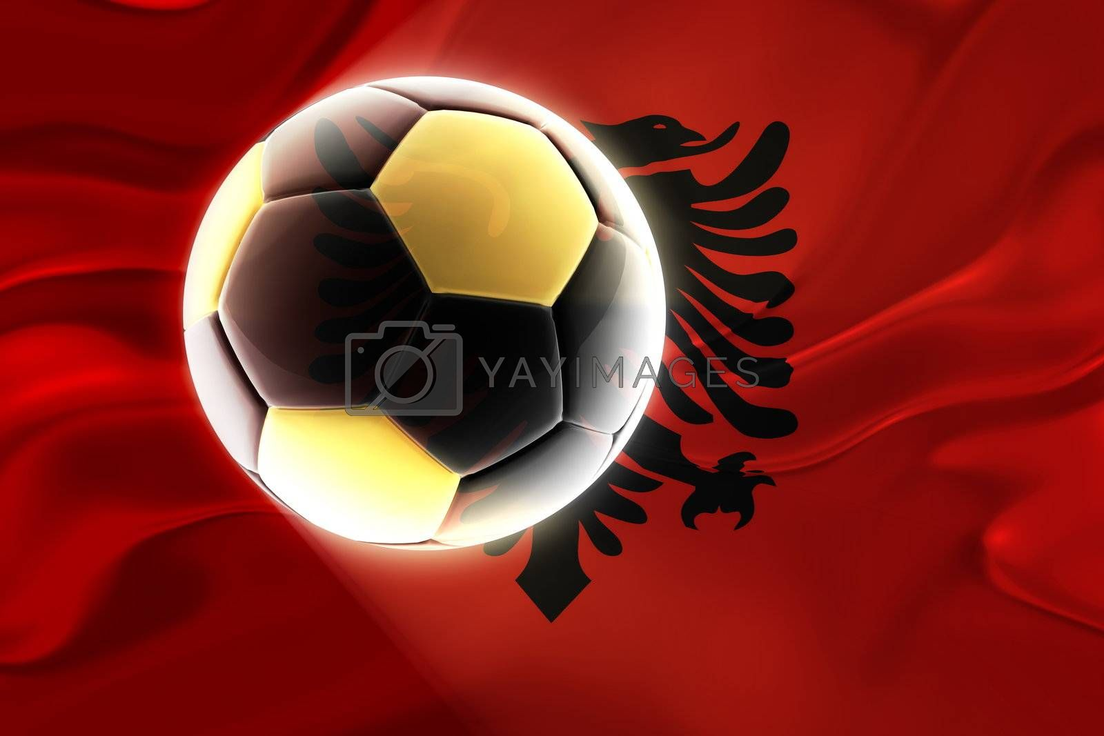 Royalty free image of Flag of Albania,  wavy soccer by kgtoh