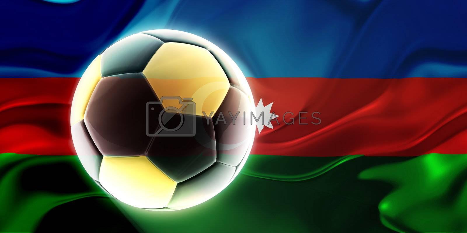 Royalty free image of Flag of Azerbaijan wavy soccer by kgtoh