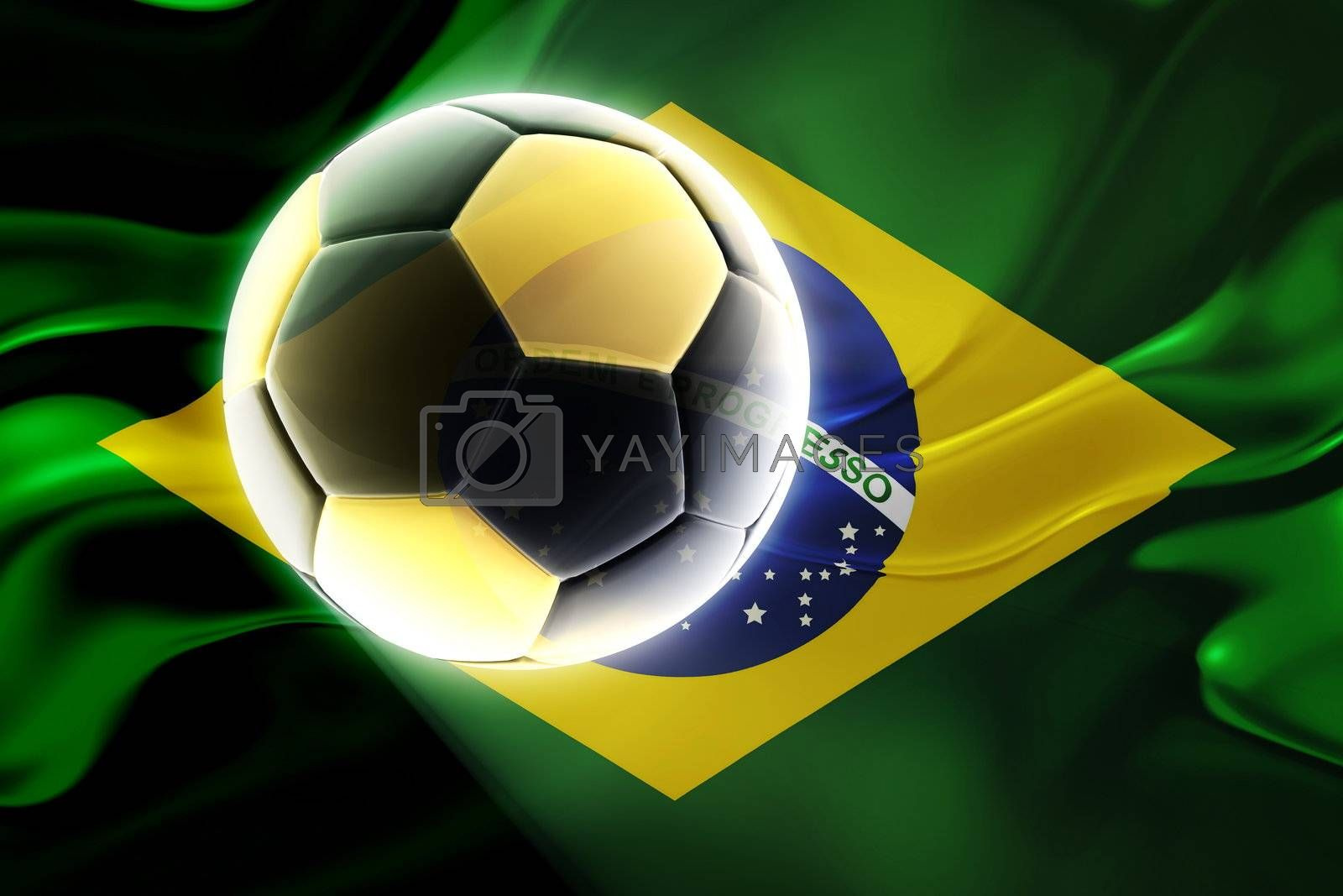 Royalty free image of Flag of Brazil wavy soccer by kgtoh
