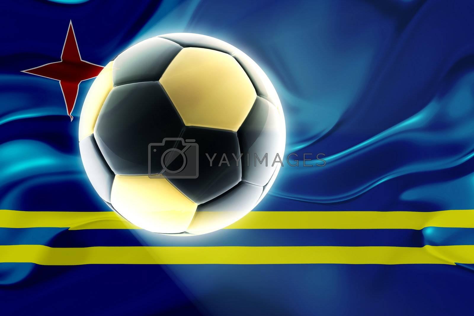 Royalty free image of Aruba flag wavy soccer by kgtoh