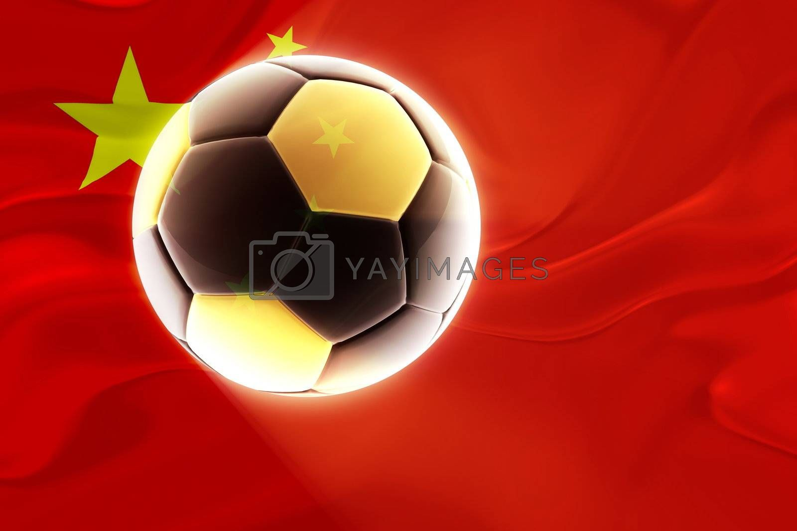 Royalty free image of China flag wavy soccer by kgtoh