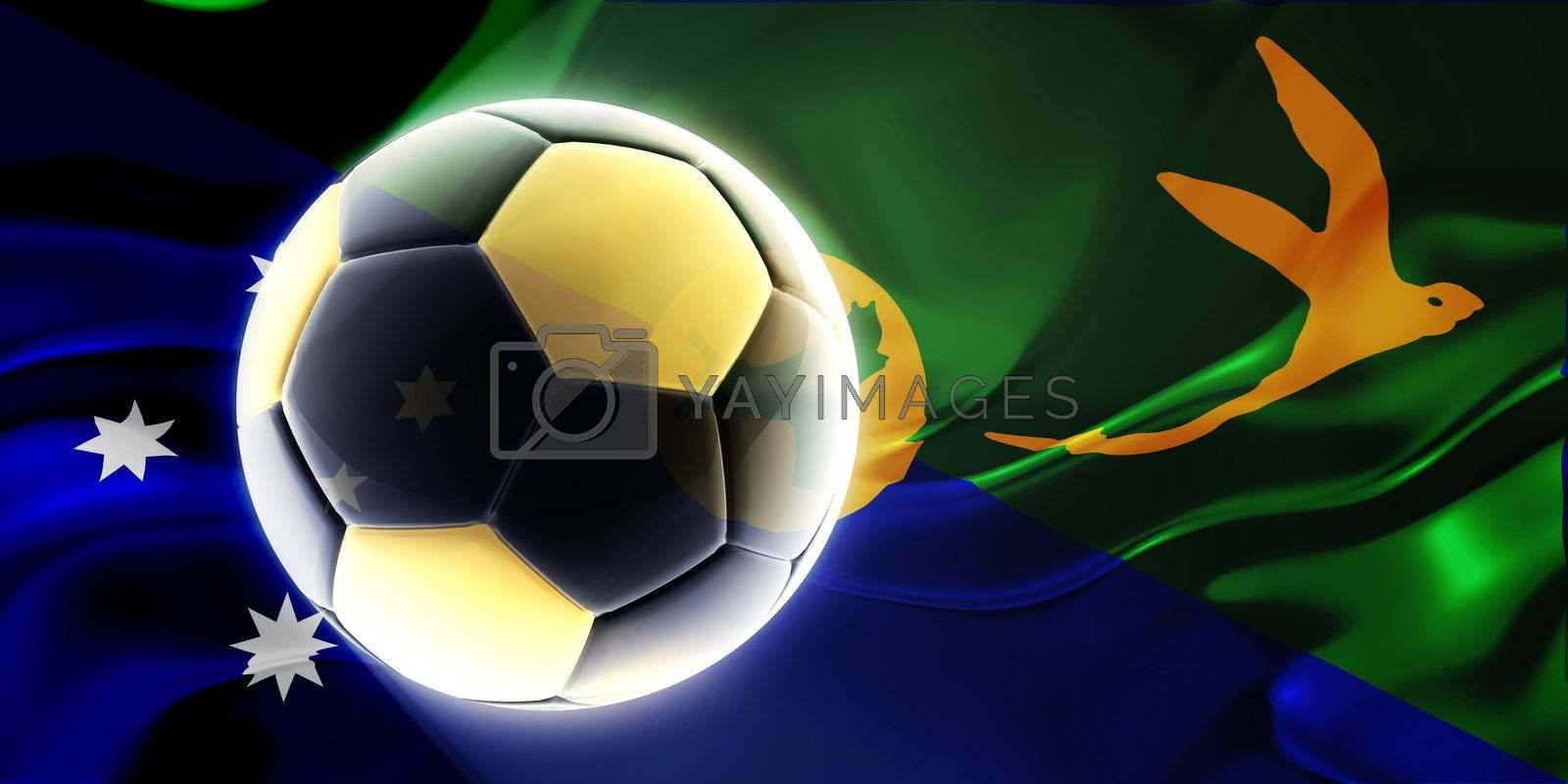 Flag of Christmas Islands, national symbol illustration clipart wavy fabric sports soccer football