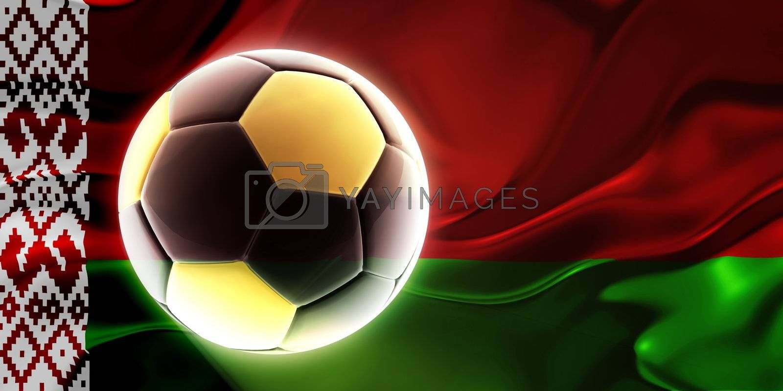 Flag of Belarus, national symbol illustration clipart wavy fabric sports soccer football