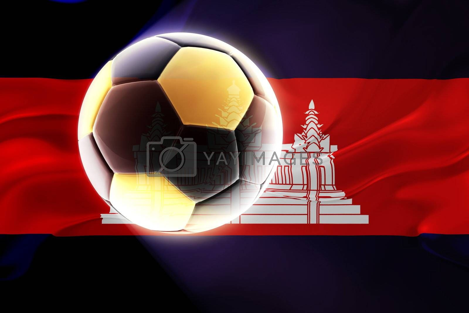 Flag of Cambodia, national symbol illustration clipart wavy fabric sports soccer football