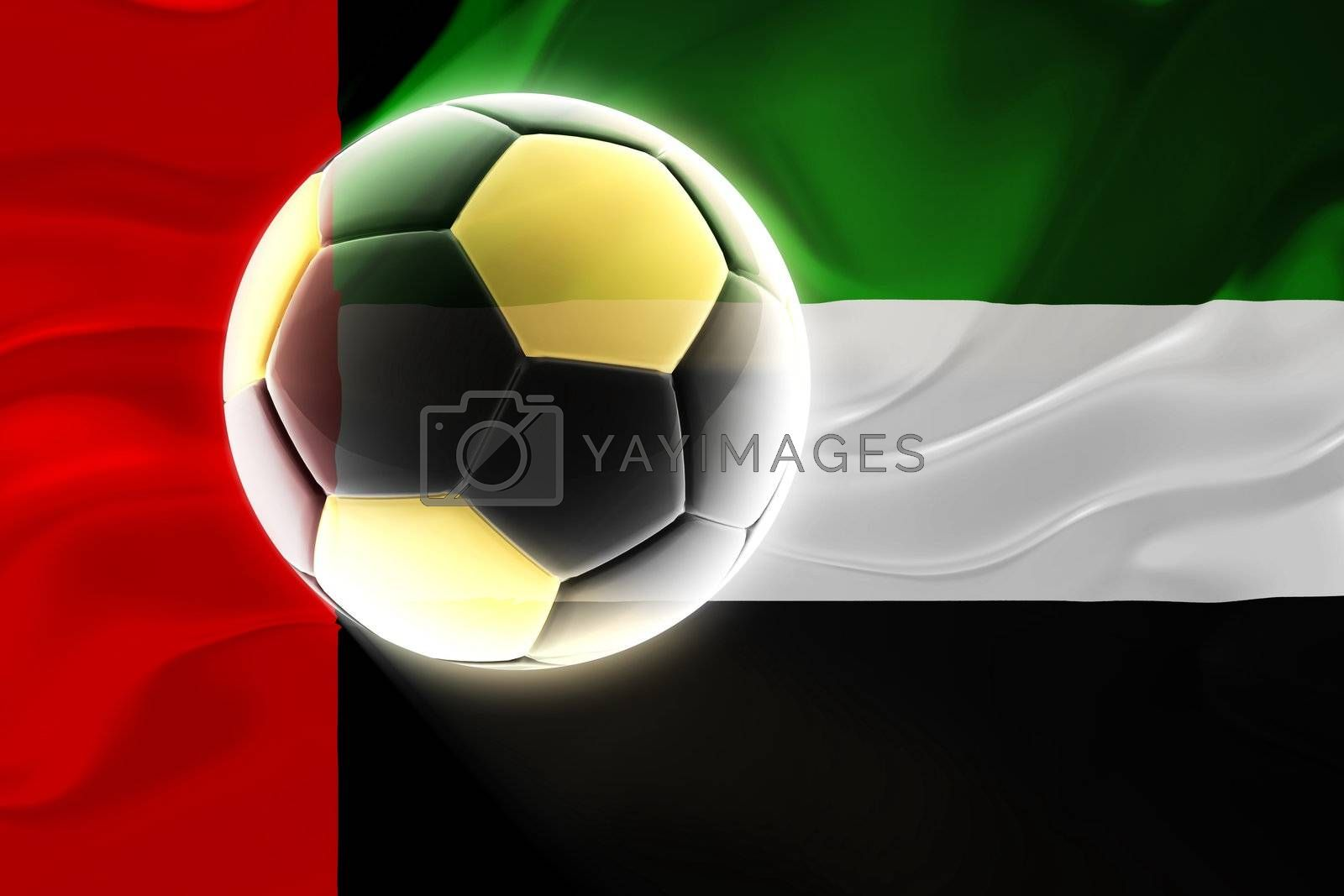 Flag of UAE, national symbol illustration clipart wavy fabric sports soccer football