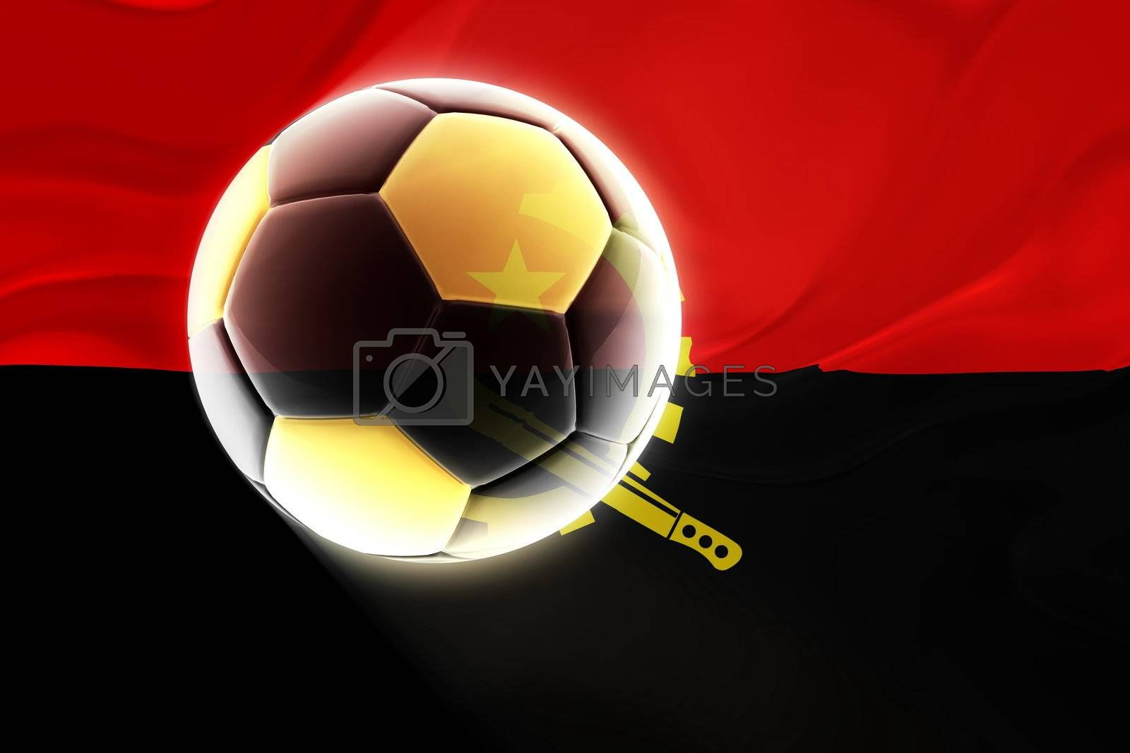 Flag of Angola , national country symbol illustration wavy fabric sports soccer football