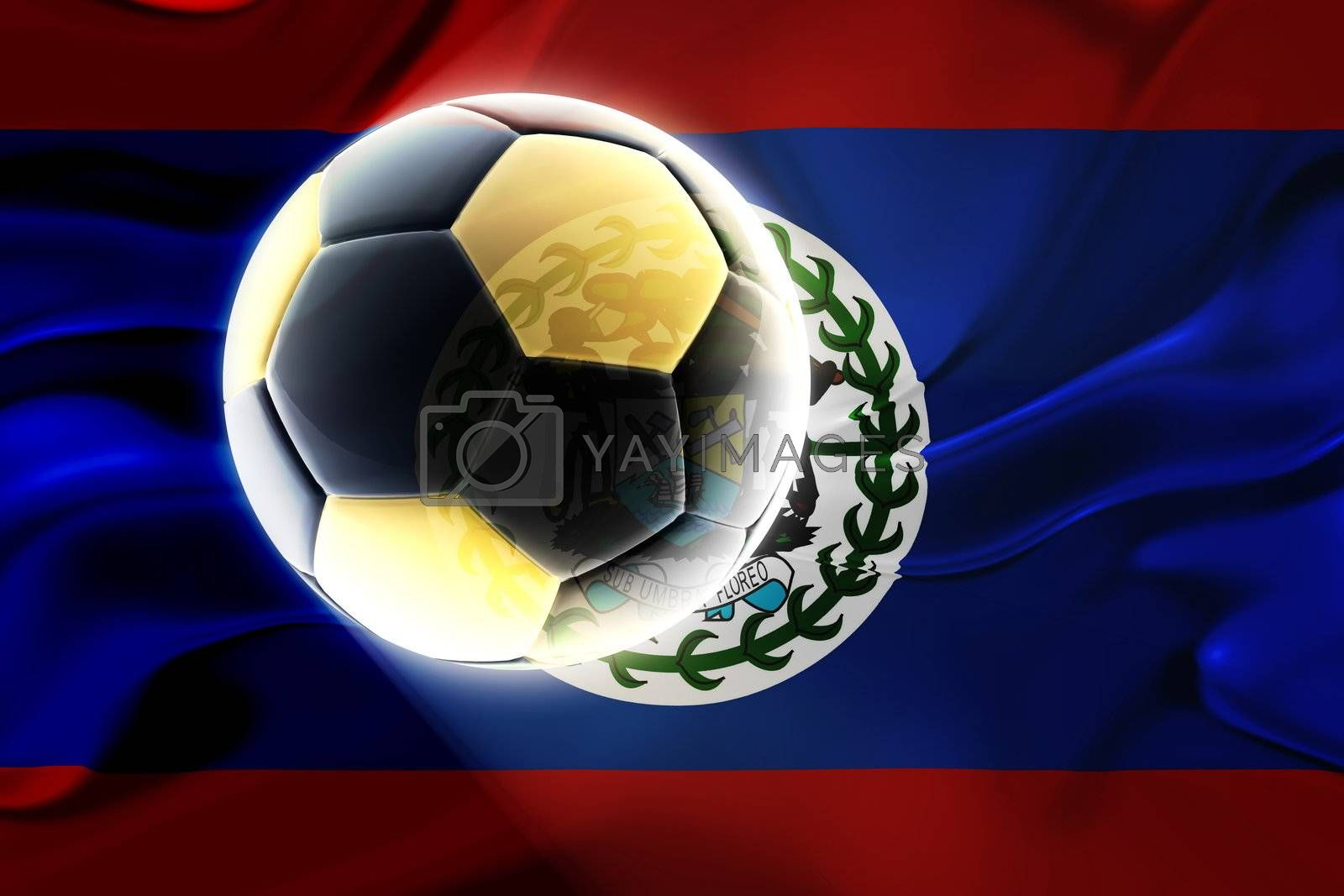 Flag of Belize, national country symbol illustration wavy fabric sports soccer football