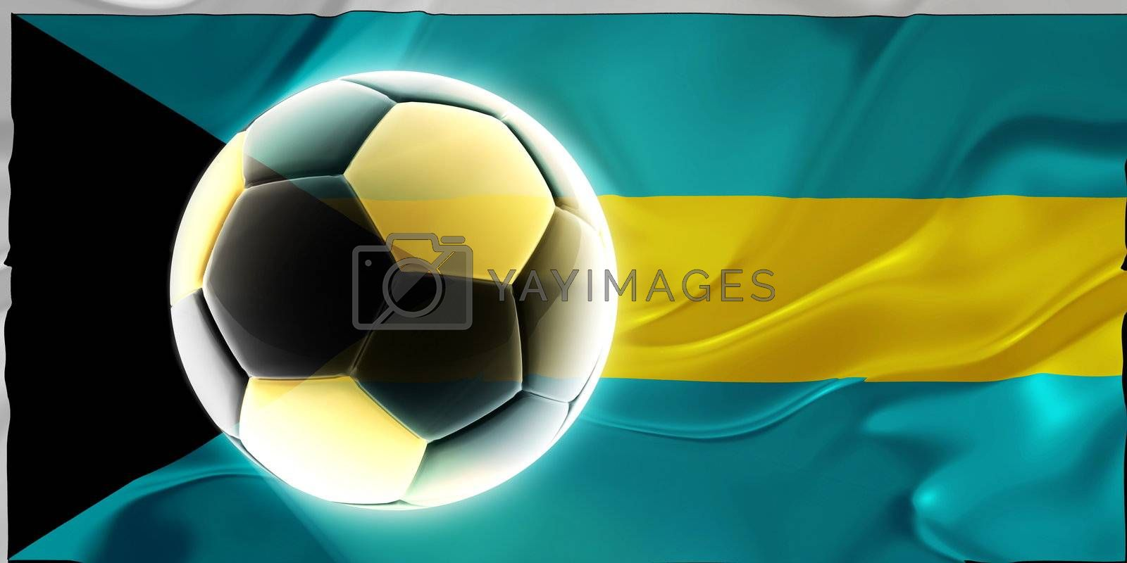 Flag of Bahamas, national country symbol illustration wavy fabric sports soccer football