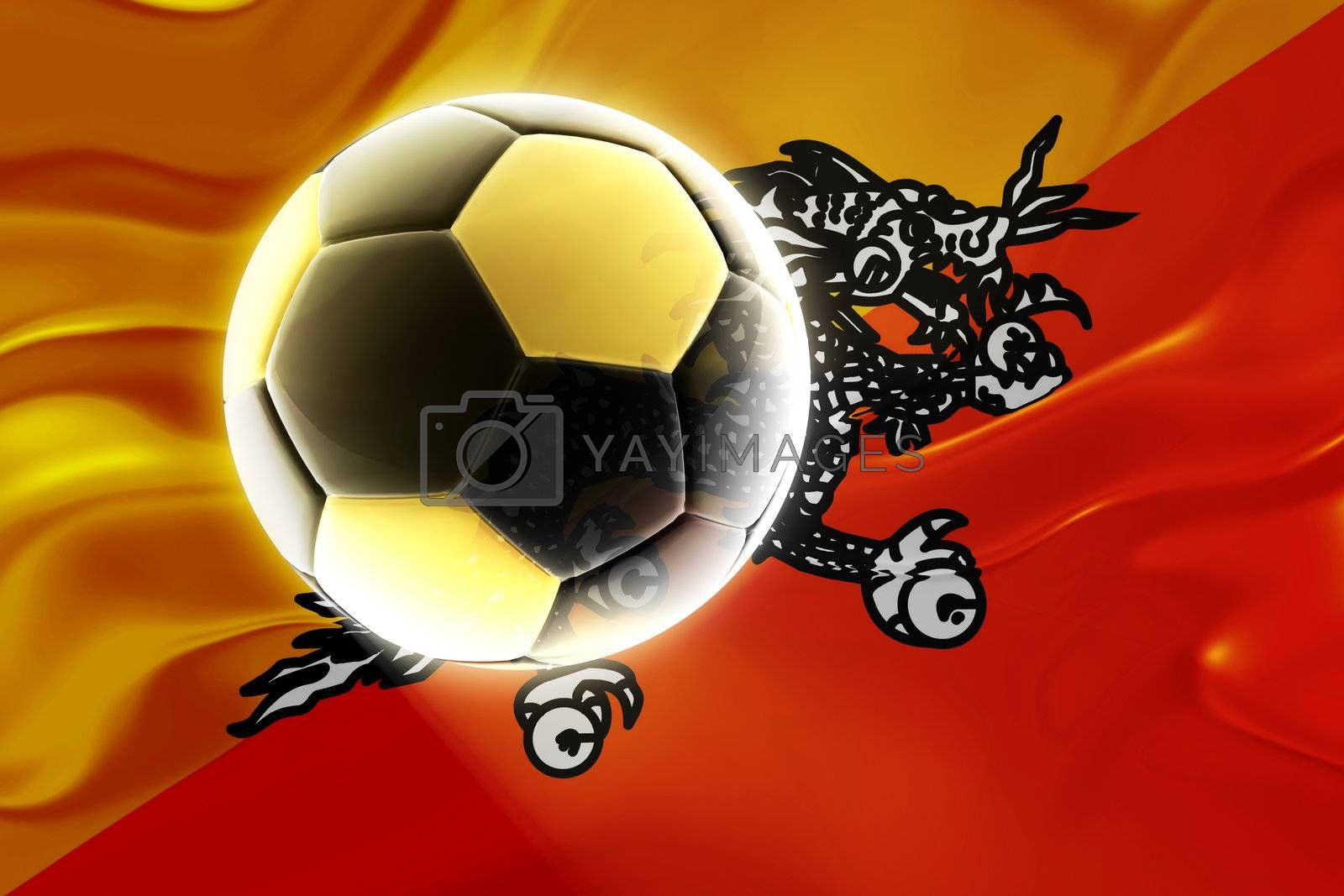 Flag of Bhutan, national country symbol illustration wavy fabric sports soccer football