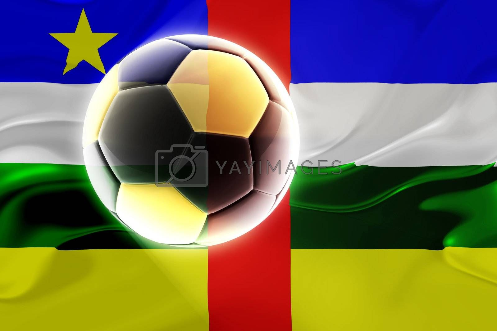 Flag of Central African Republic , national country symbol illustration wavy fabric sports soccer football