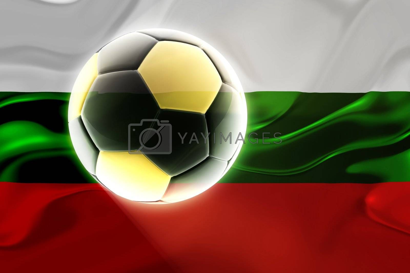 Flag of Bulgaria, national symbol illustration clipart wavy fabric sports soccer football