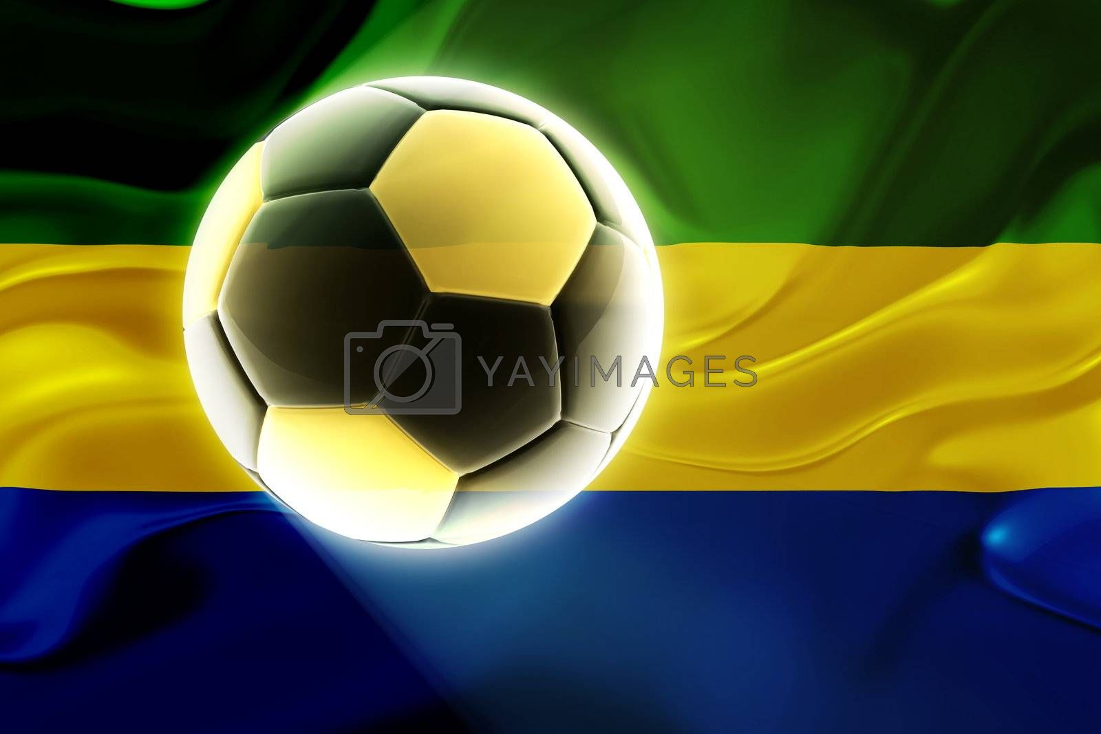 Flag of Gabon, national country symbol illustration wavy fabric sports soccer football