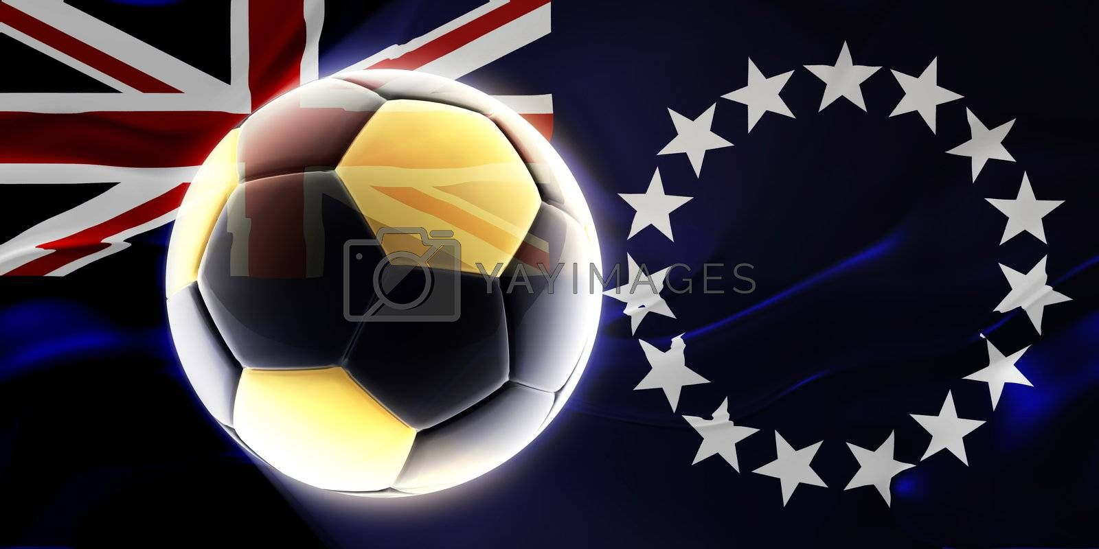 Flag of Cook Islands, national country symbol illustration wavy fabric sports soccer football