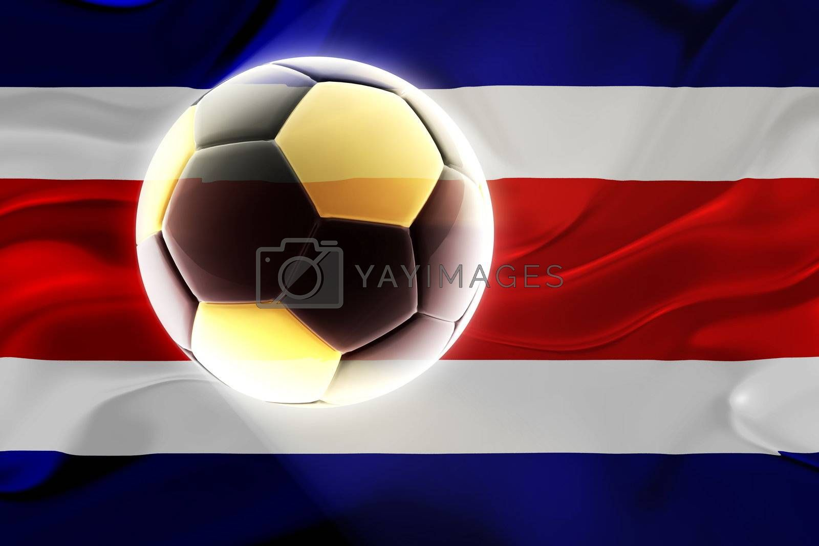 Flag of Costa Rica , national country symbol illustration wavy fabric sports soccer football