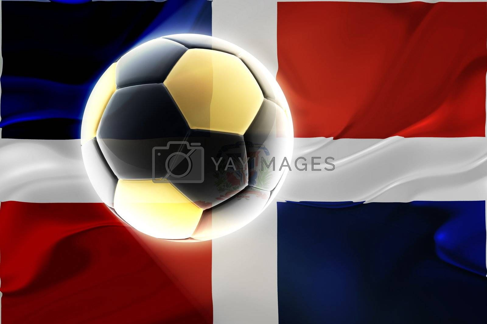 Flag of Dominican Republic, national country symbol illustration wavy fabric sports soccer football