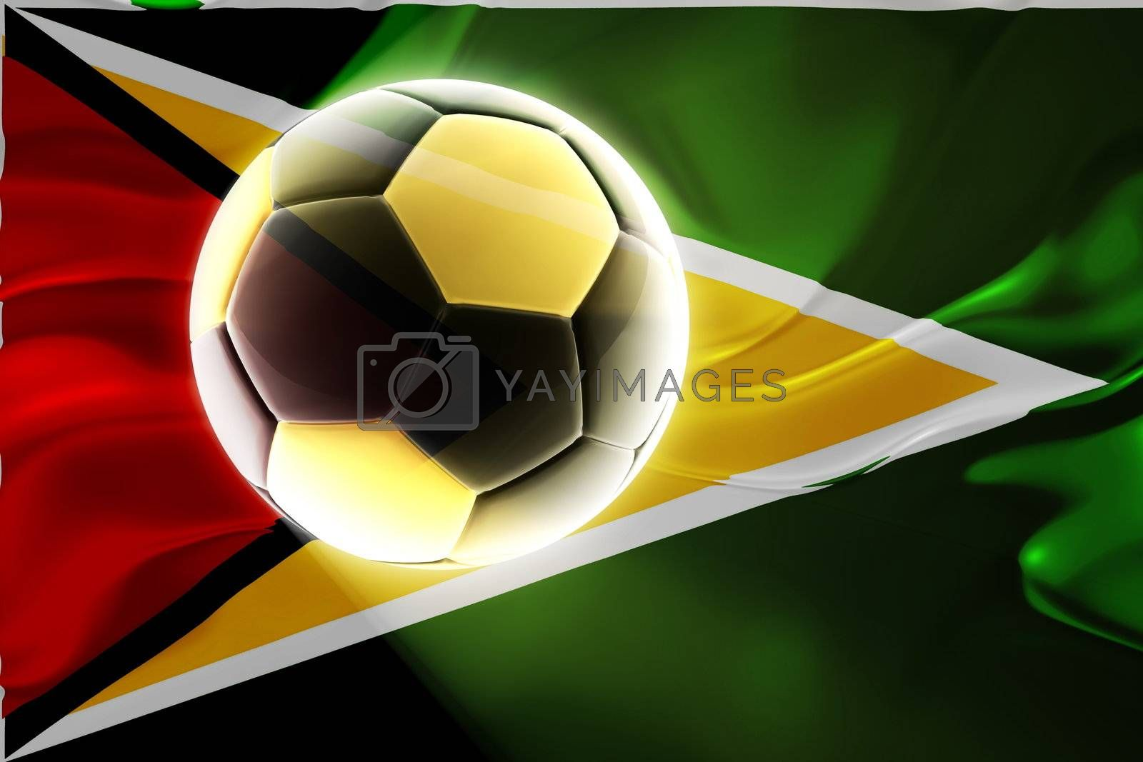 Flag of Guyana, national country symbol illustration wavy fabric sports soccer football