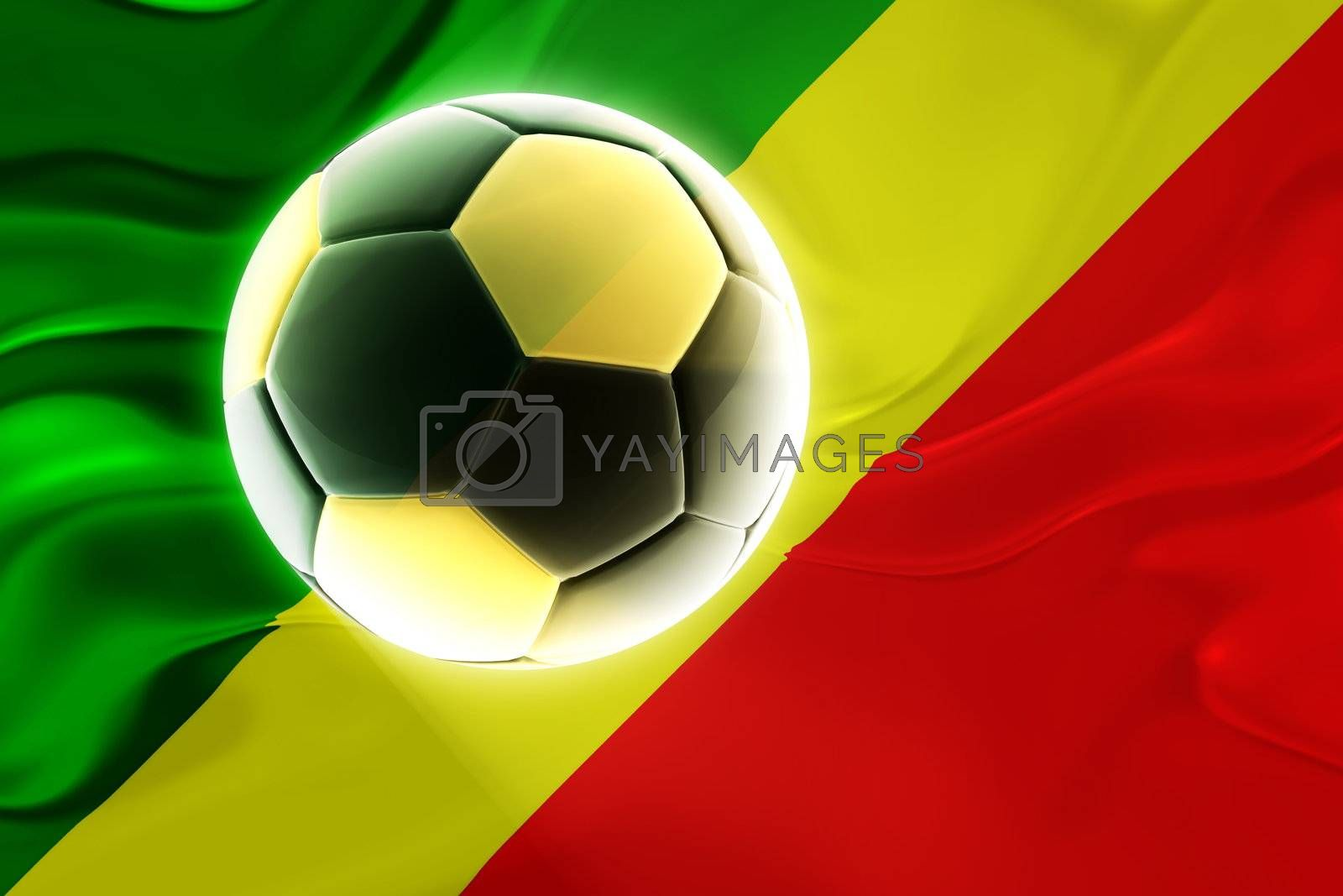 Flag of Congo, national country symbol illustration wavy fabric sports soccer football