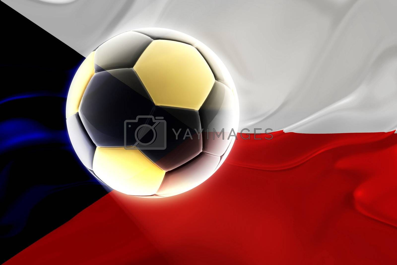 Flag of Czechoslovakia, national symbol illustration clipart wavy fabric sports soccer football