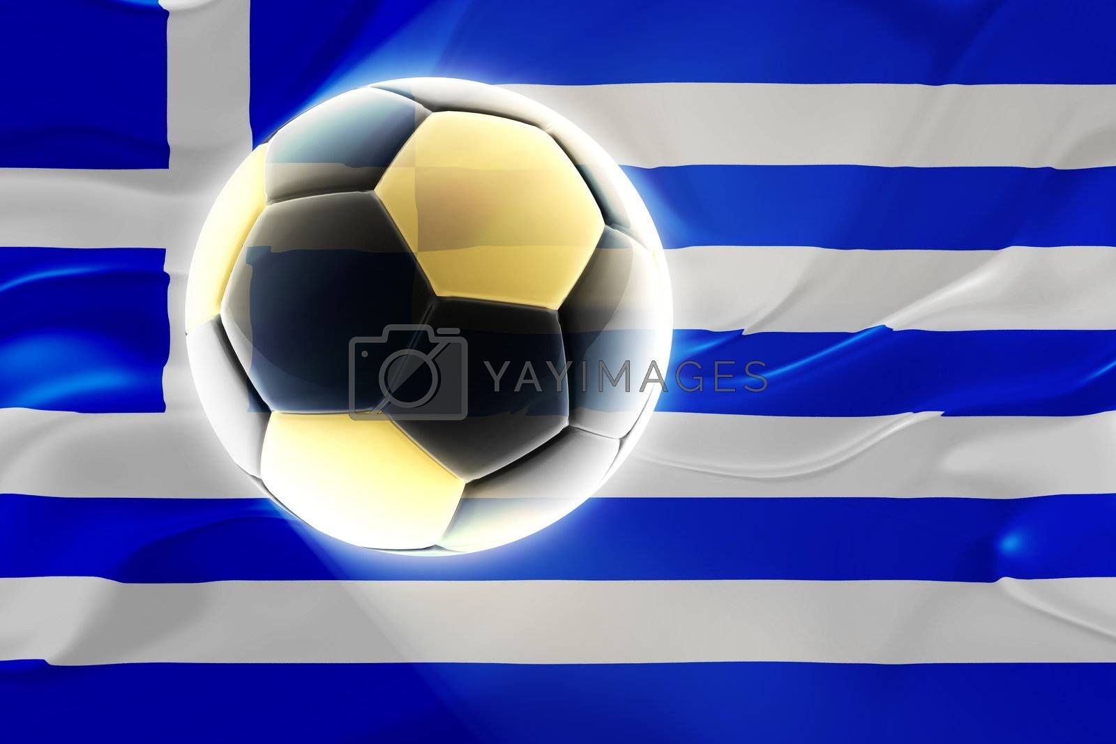 Flag of Greece, national country symbol illustration wavy fabric sports soccer football