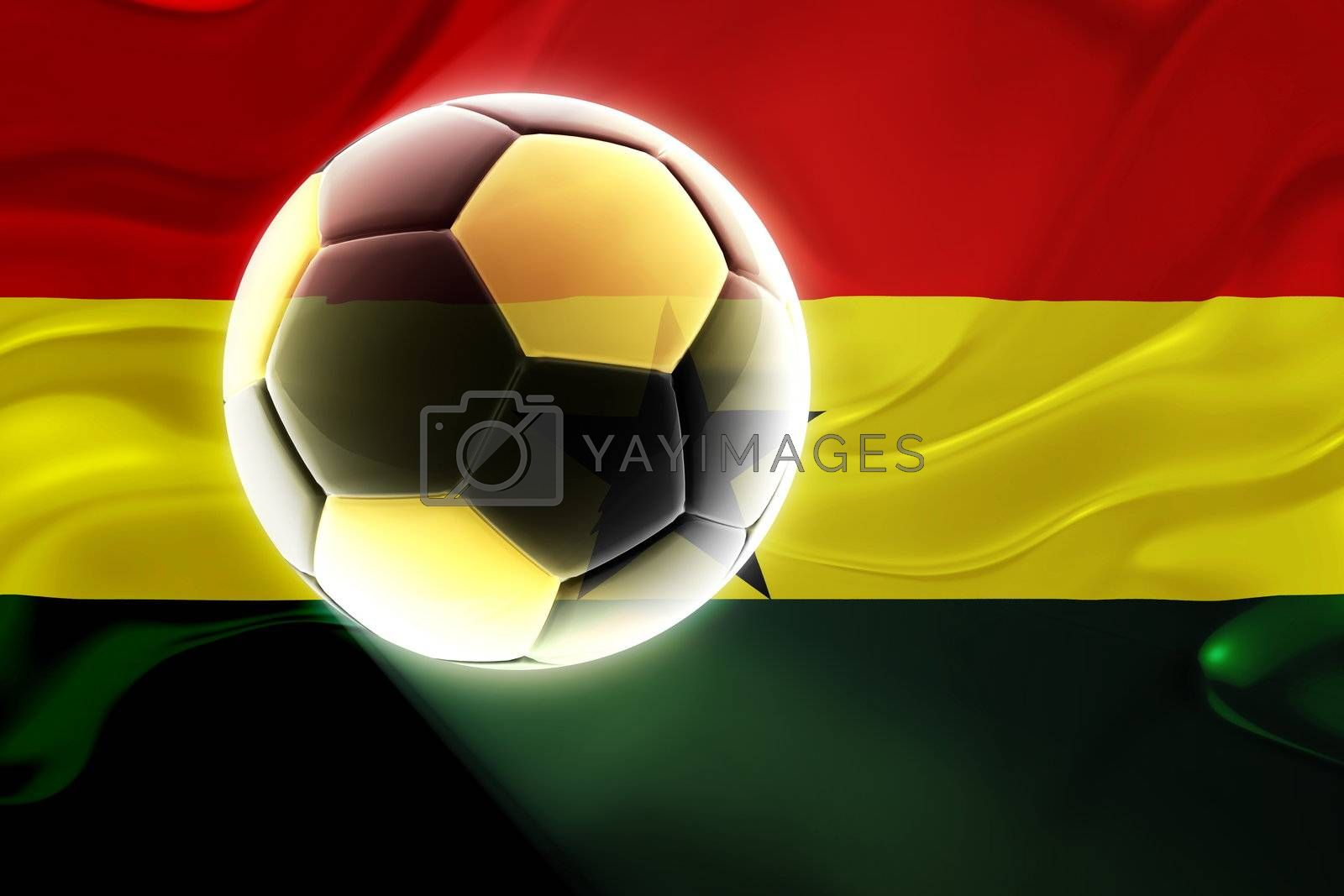 Flag of Ghana , national country symbol illustration wavy fabric sports soccer football