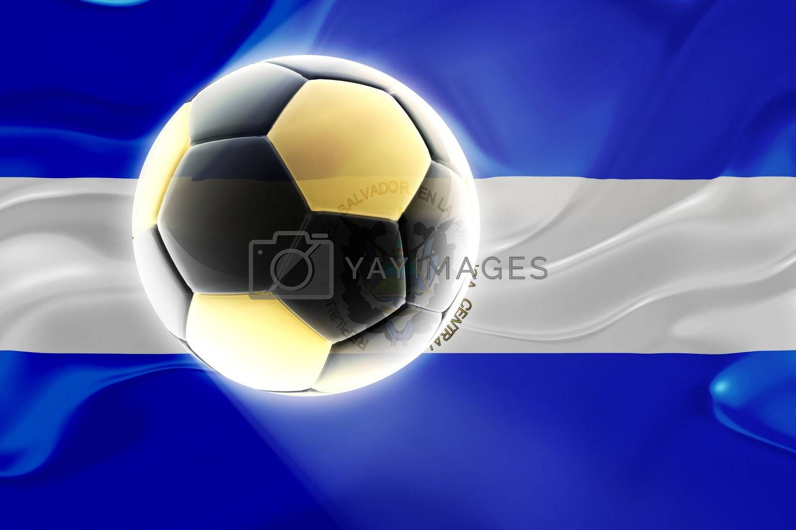 Flag of El Salvador, national country symbol illustration wavy fabric sports soccer football
