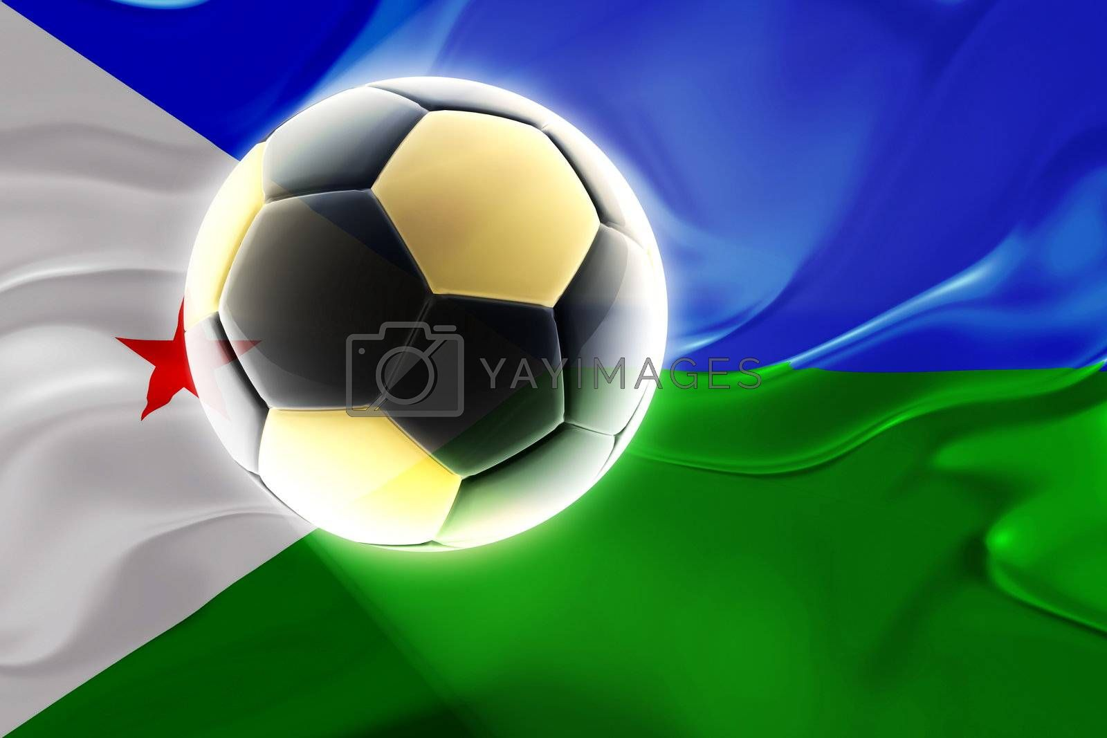 Flag of Djibouti , national country symbol illustration wavy fabric sports soccer football