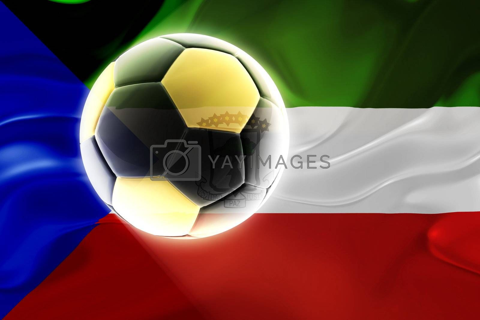 Flag of Equatorial Guinea , national country symbol illustration wavy fabric sports soccer football