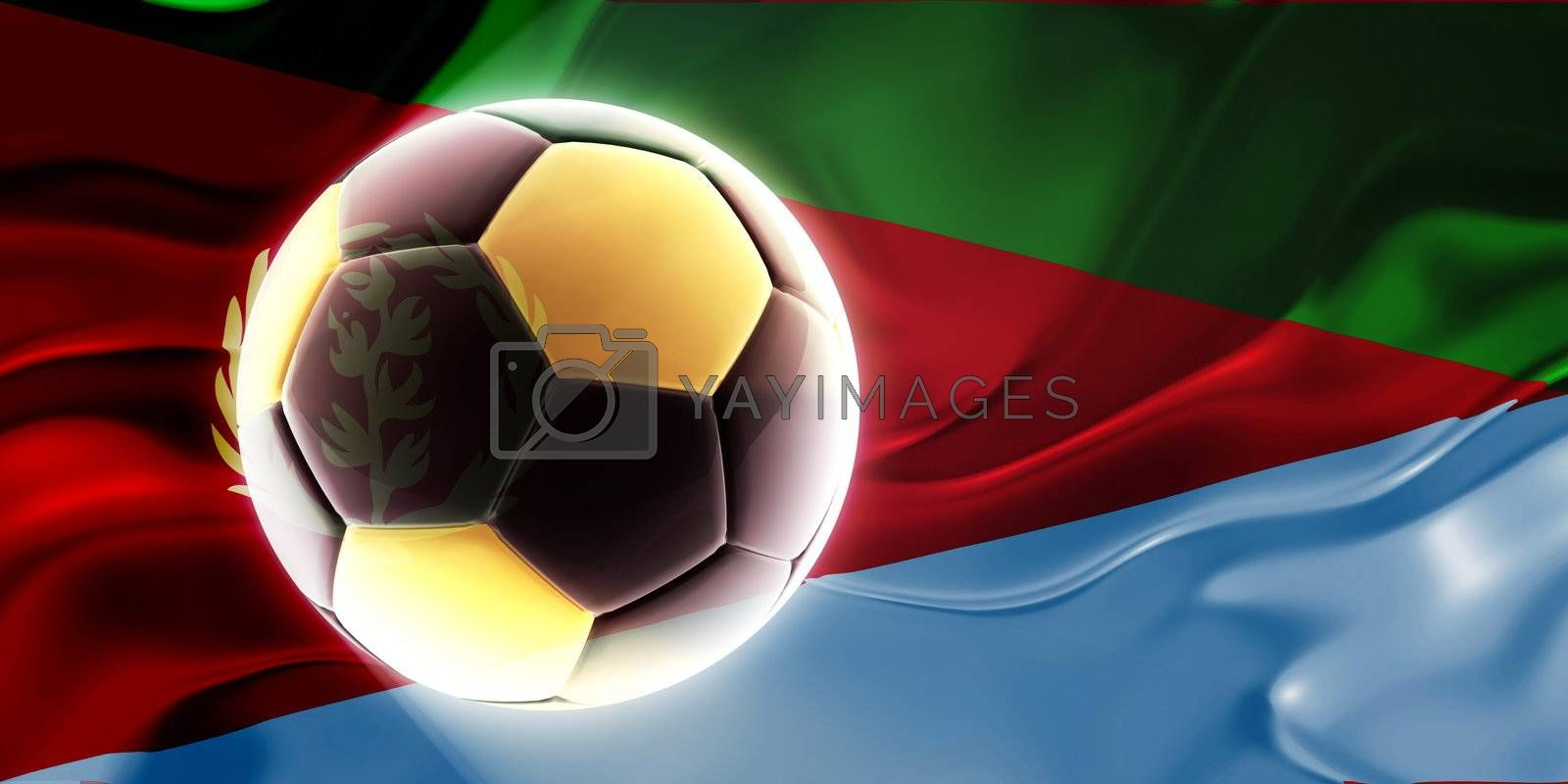 Flag of Eritrea, national country symbol illustration wavy fabric sports soccer football