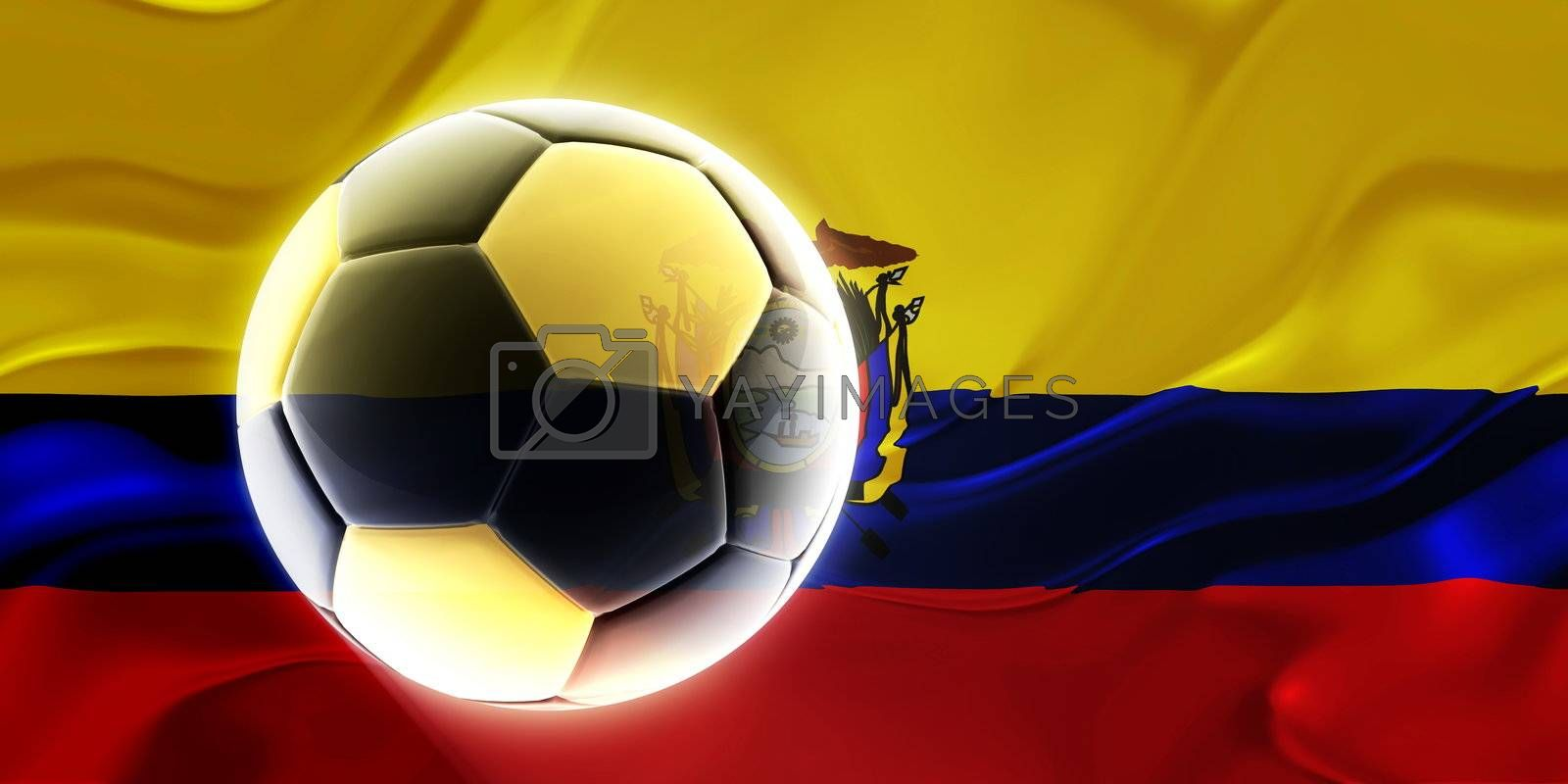 Flag of Ecuador, national country symbol illustration wavy fabric sports soccer football