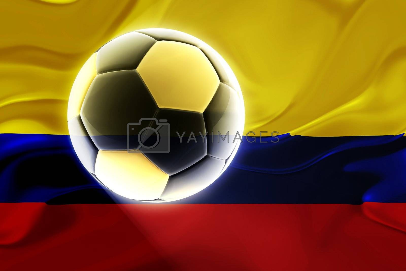 Flag of Colombia, national country symbol illustration wavy fabric sports soccer football
