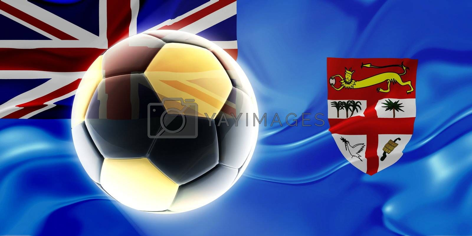 Flag of Fiji, national country symbol illustration wavy fabric sports soccer football